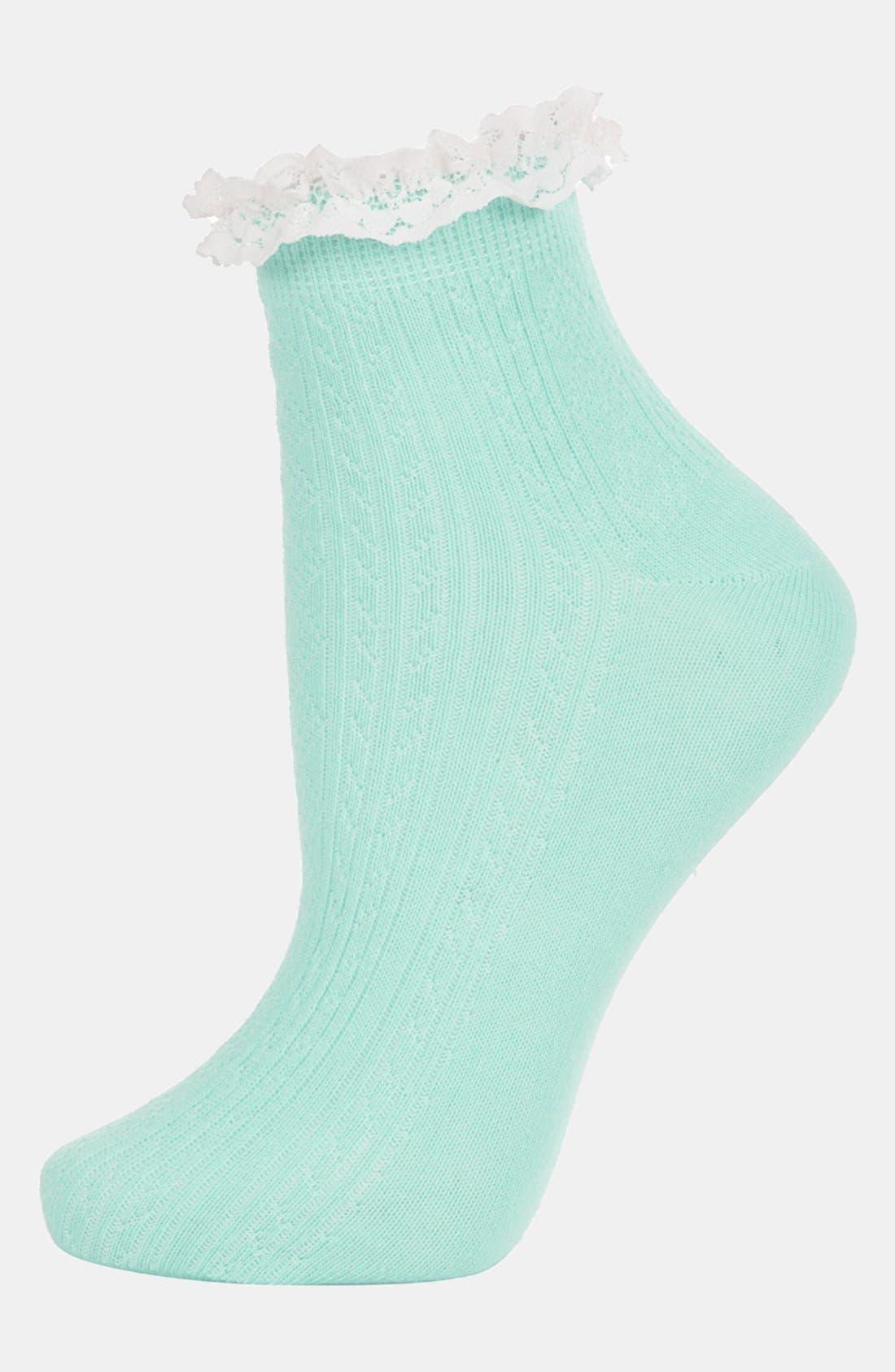Lace Trim Ankle Socks,                             Main thumbnail 6, color,