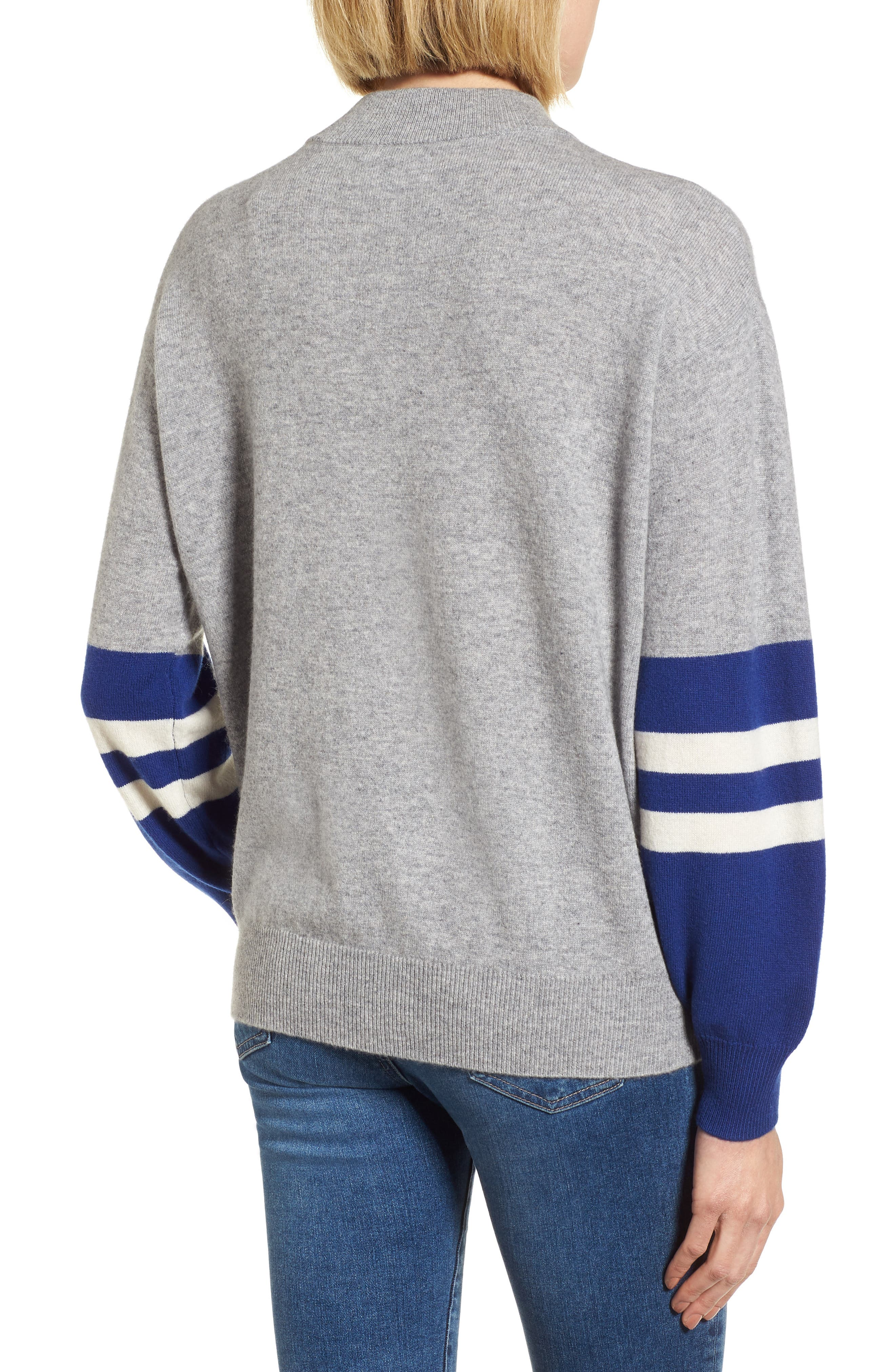 Colorblock Cashmere Sweater,                             Alternate thumbnail 2, color,                             HEATHER GREY