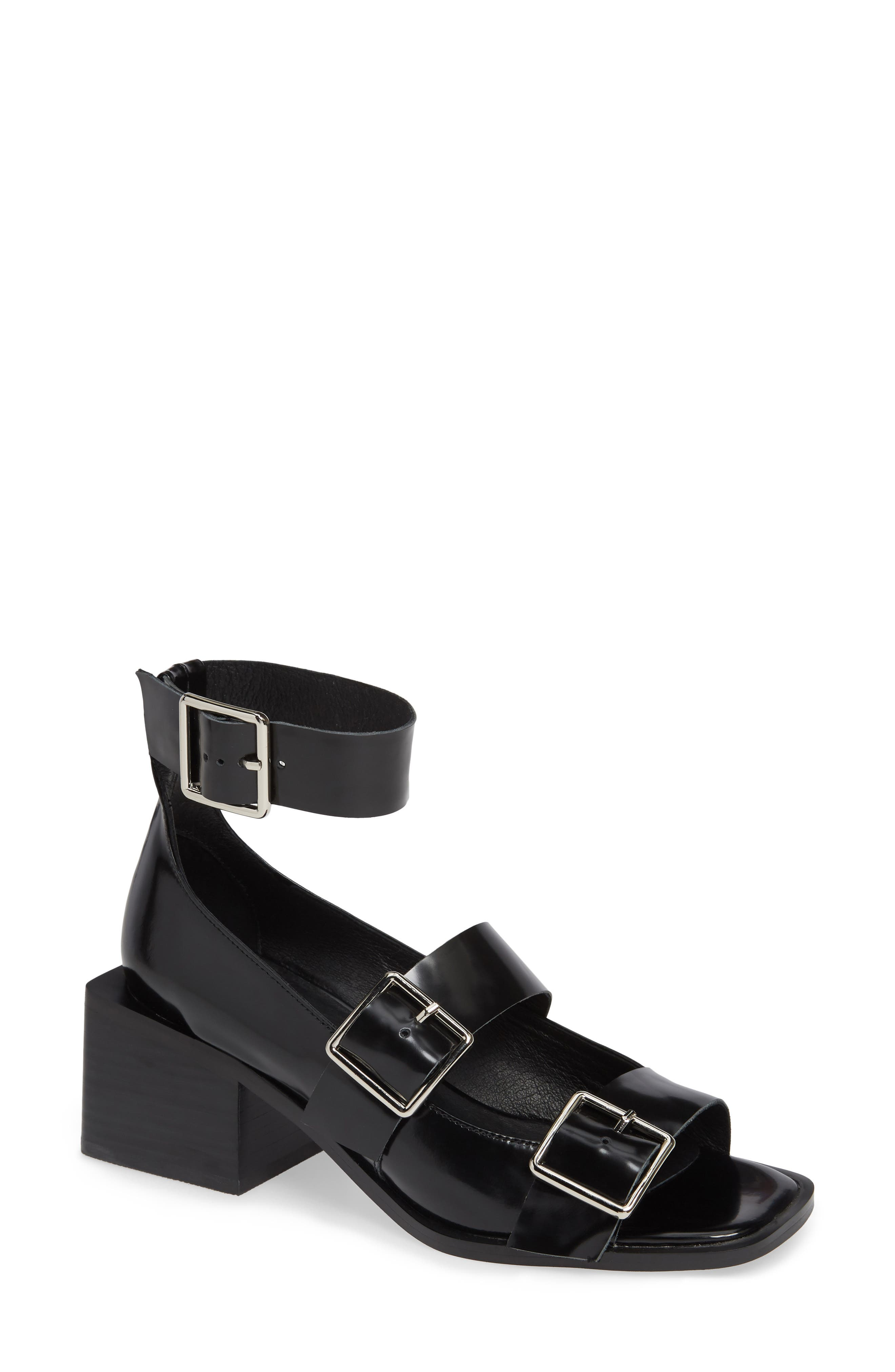 Aspinal Ankle Strap Sandal,                             Main thumbnail 1, color,                             BLACK LEATHER