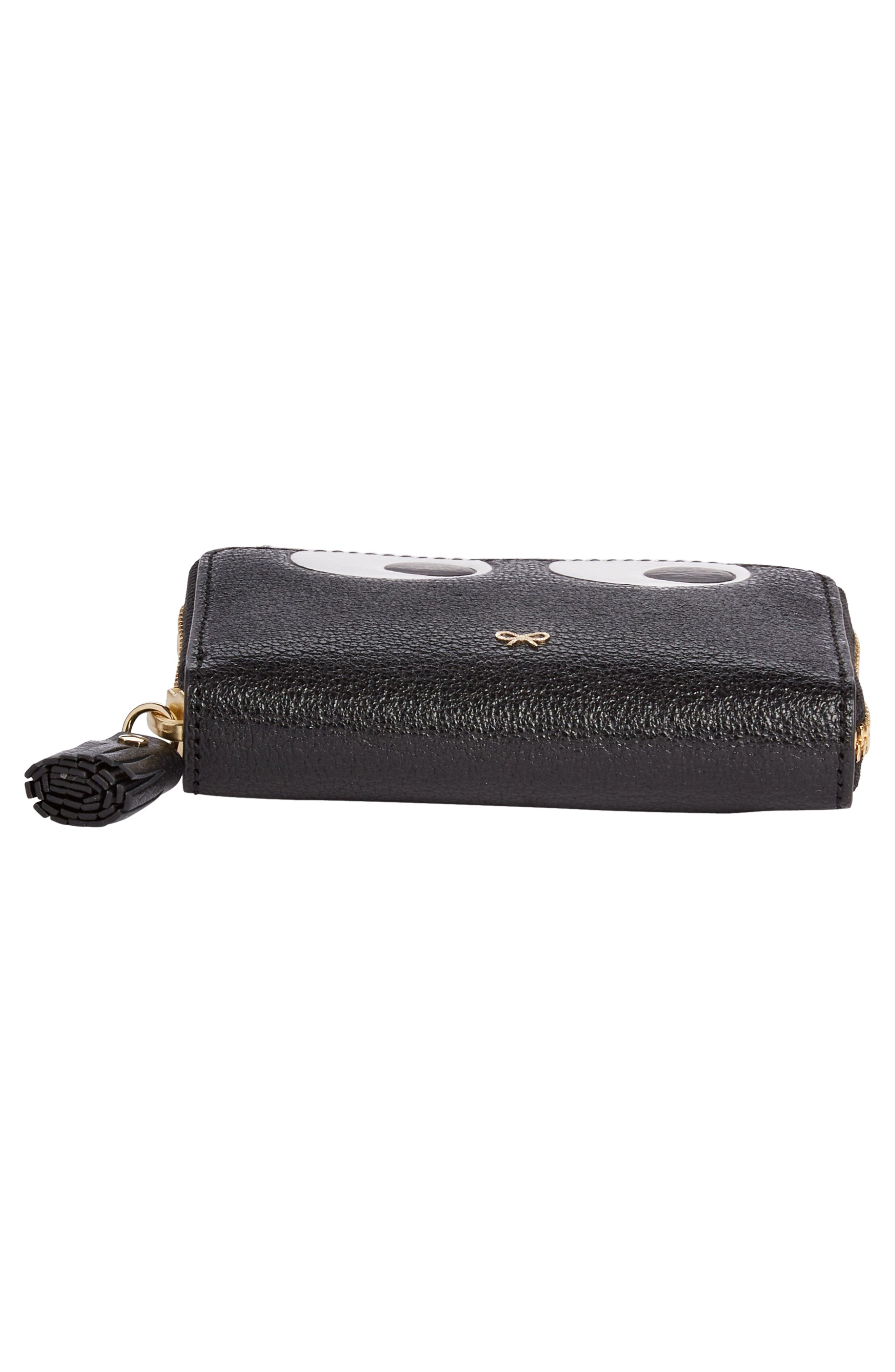 Eyes Small Leather Zip Around Wallet,                             Alternate thumbnail 5, color,                             BLACK