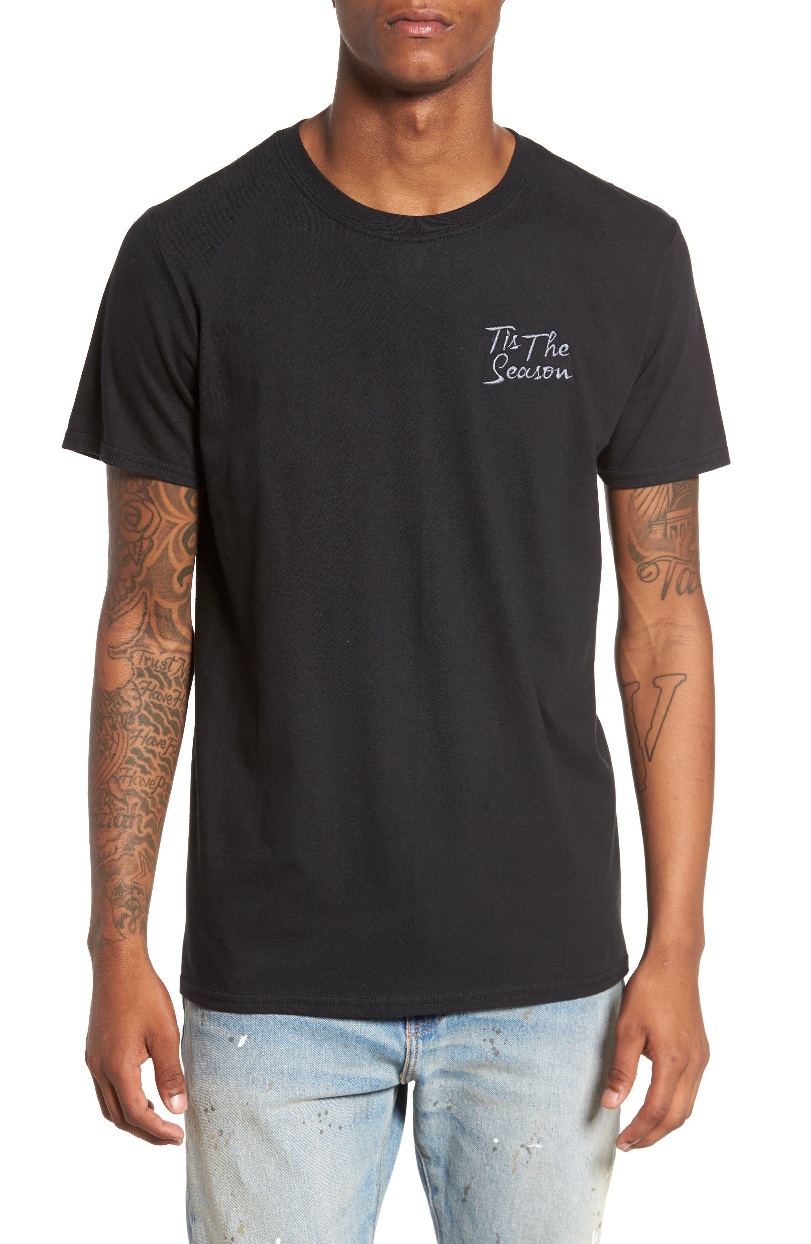 Tis The Season Embroidered T-Shirt,                             Main thumbnail 1, color,                             001