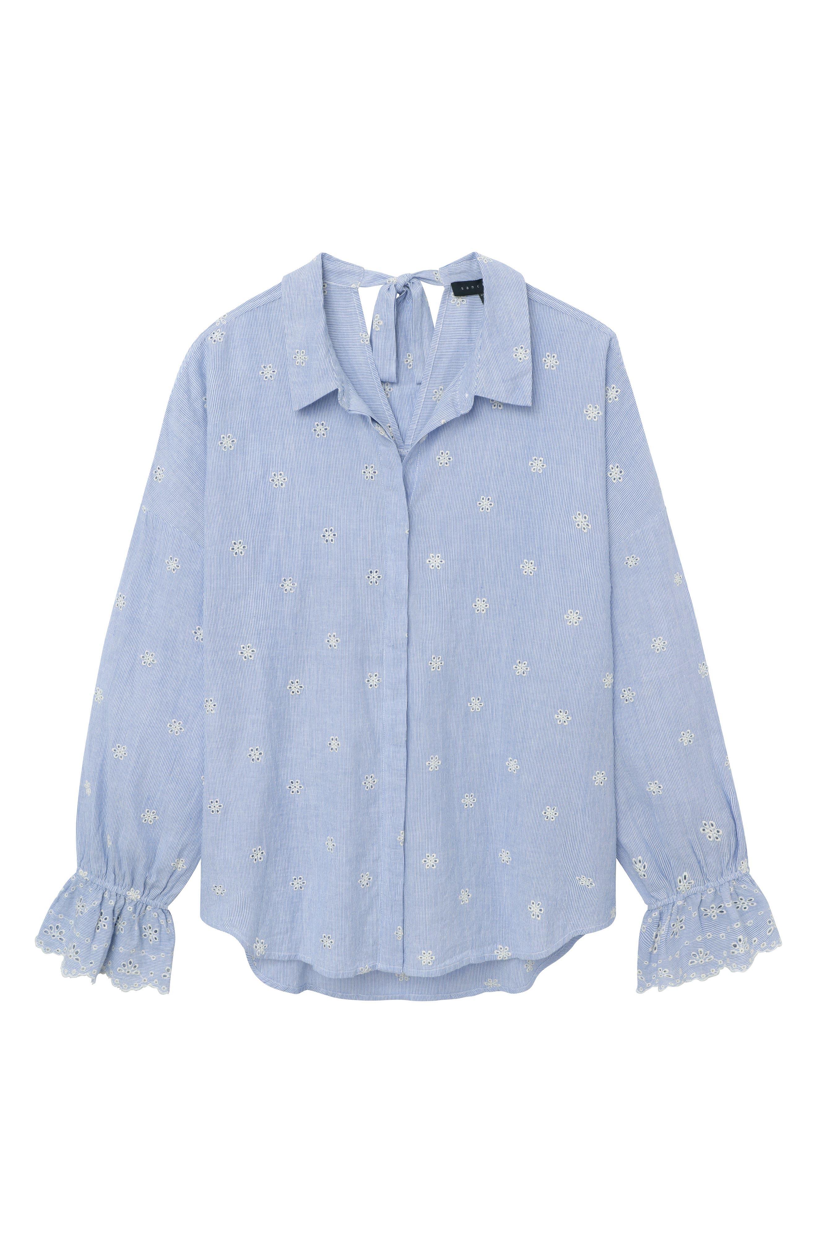 Hazel Boy Eyelet Shirt,                             Alternate thumbnail 3, color,                             BABY TICKING STRIPE