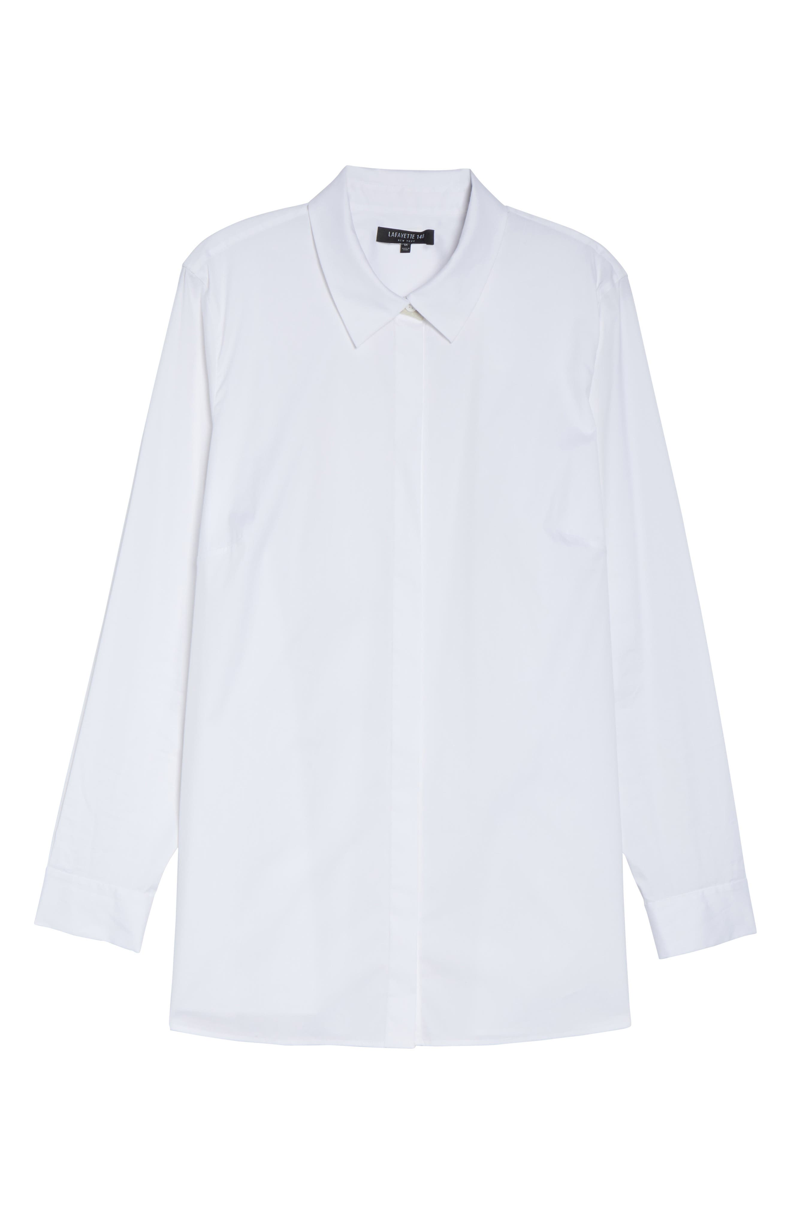 Lafayette 148 Braden Step Hem Blouse,                             Alternate thumbnail 6, color,                             100