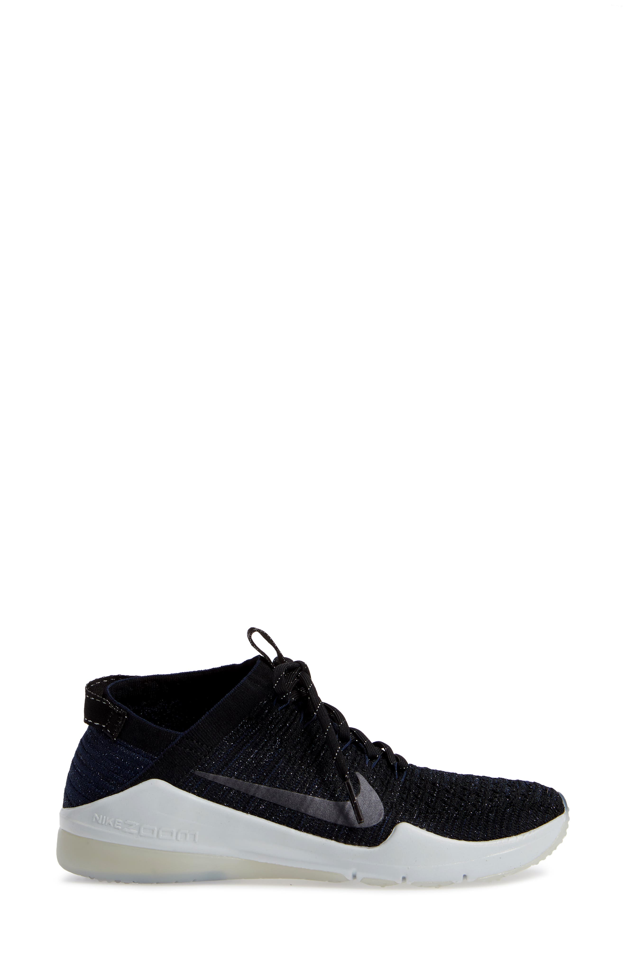 Air Zoom Fearless Flyknit 2 Training Sneaker,                             Alternate thumbnail 3, color,                             BLACK/ METALLIC NAVY- NAVY