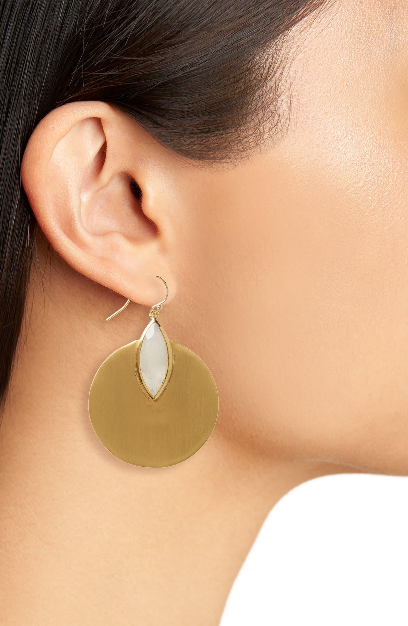 Lotus Disc Earrings,                             Alternate thumbnail 2, color,                             710