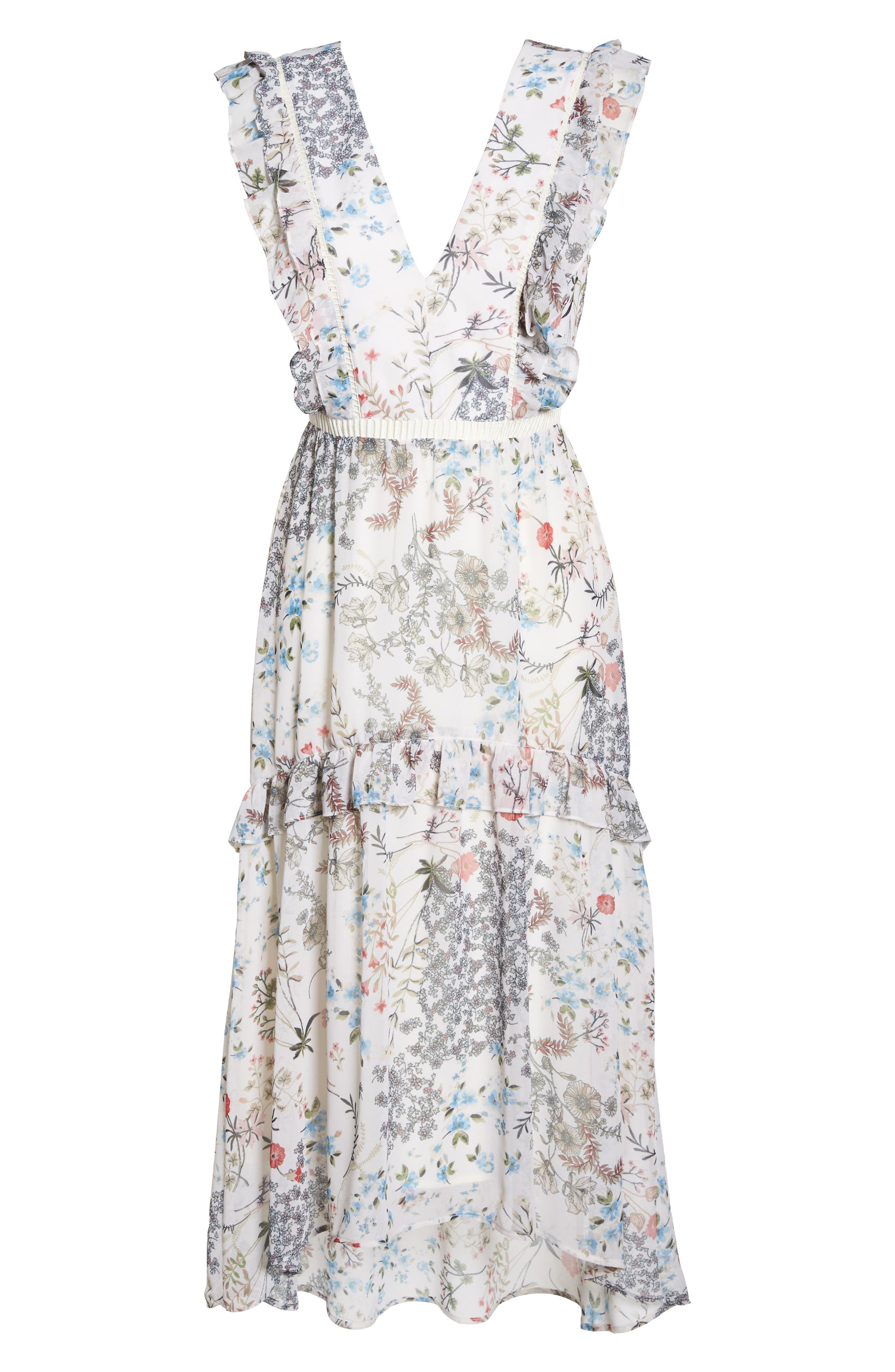 Print High/Low Midi Dress,                             Alternate thumbnail 6, color,                             900