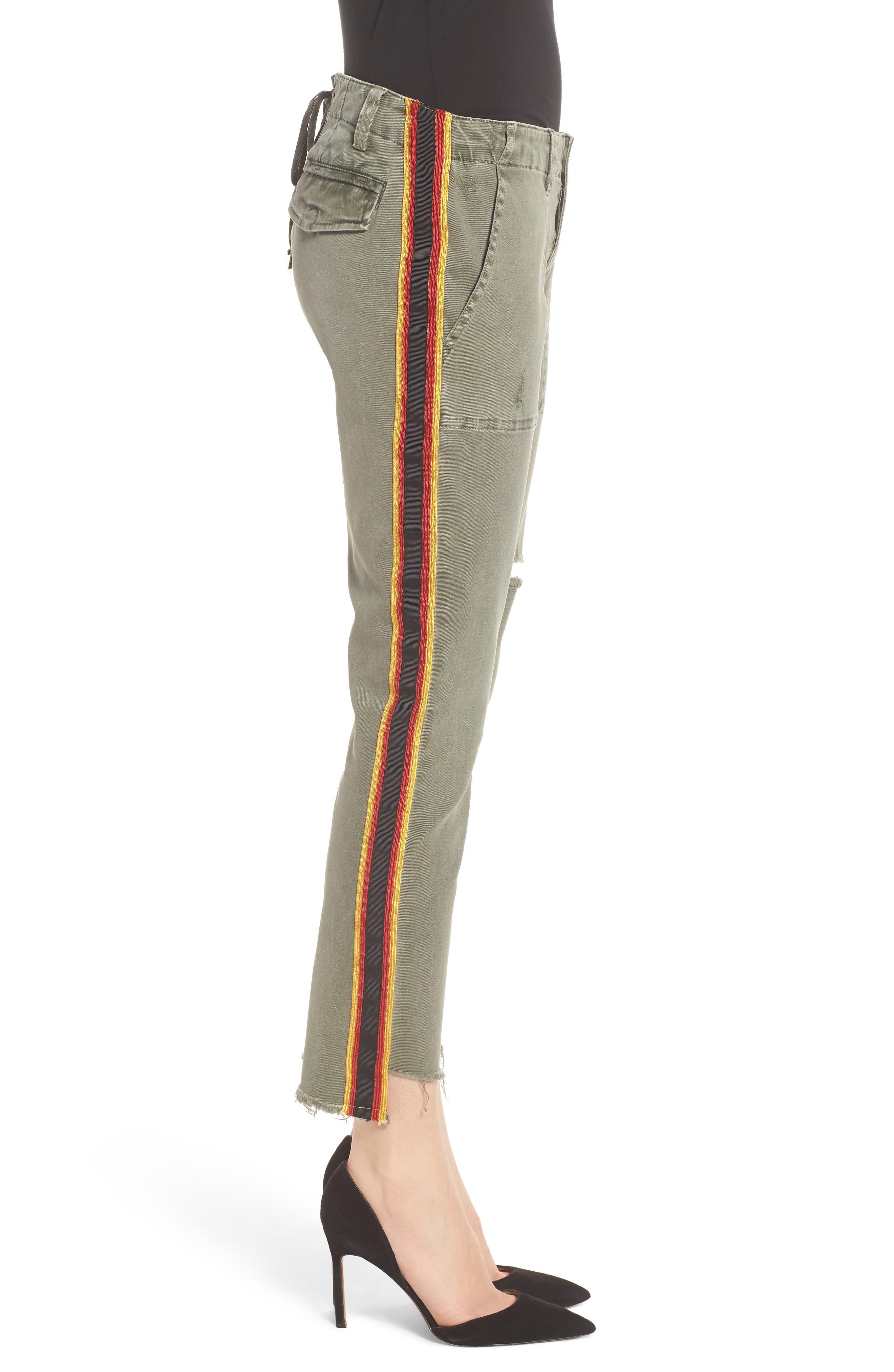 Uniform Stripe Step Hem Pants,                             Alternate thumbnail 3, color,                             MILITIA