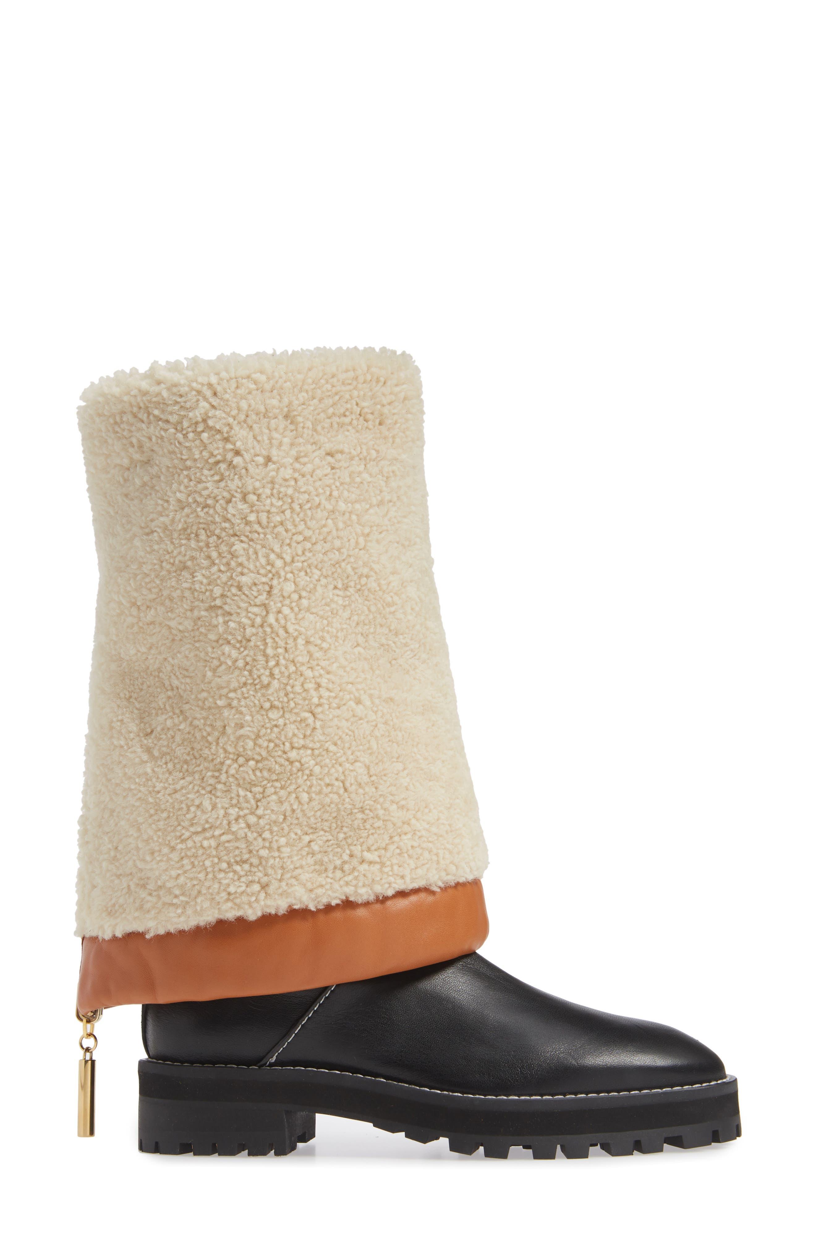 Renata Genuine Shearling Boot,                             Alternate thumbnail 4, color,                             BLACK ANDORRA