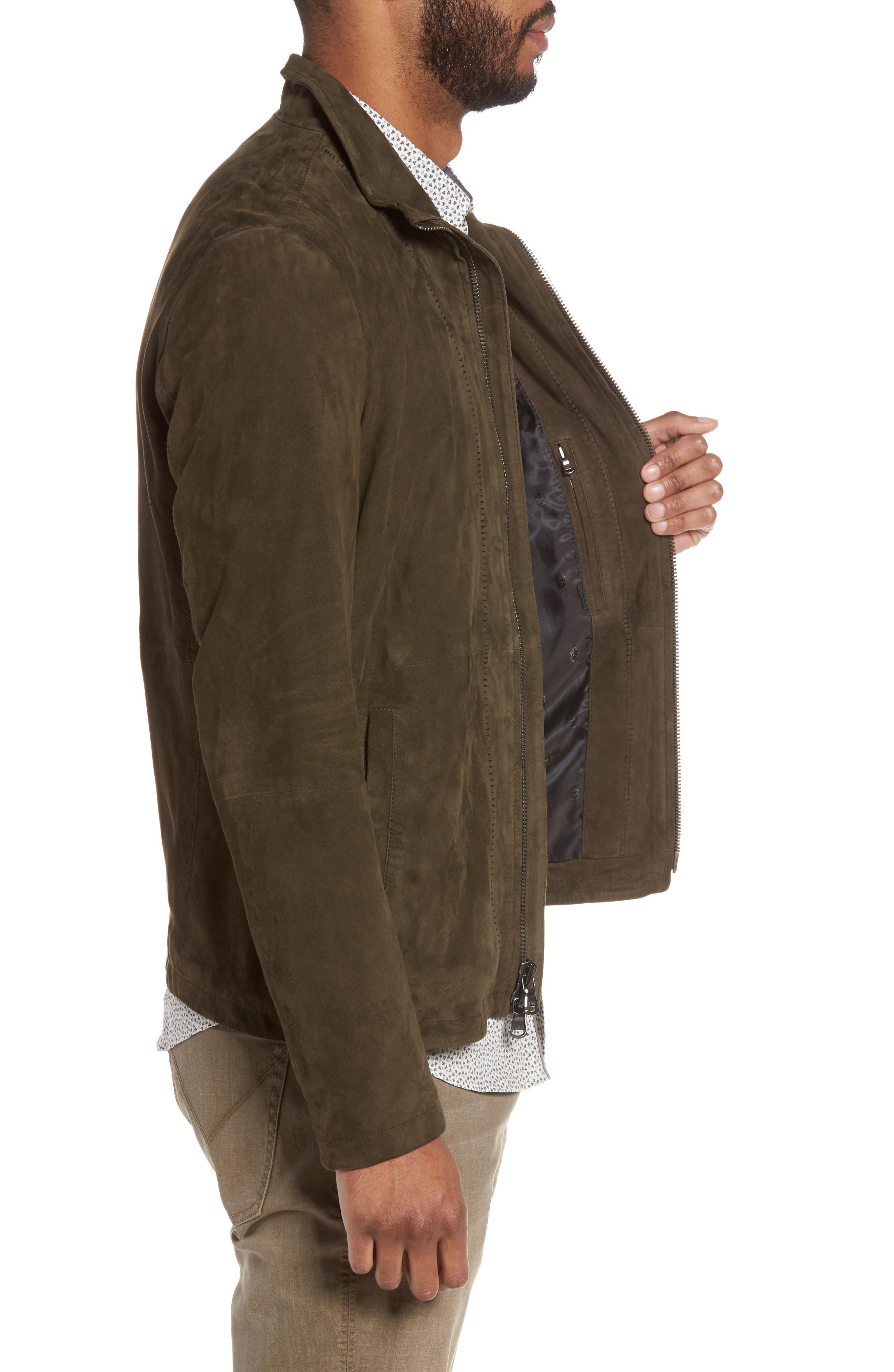 Zip Front Leather Jacket,                             Alternate thumbnail 3, color,                             307