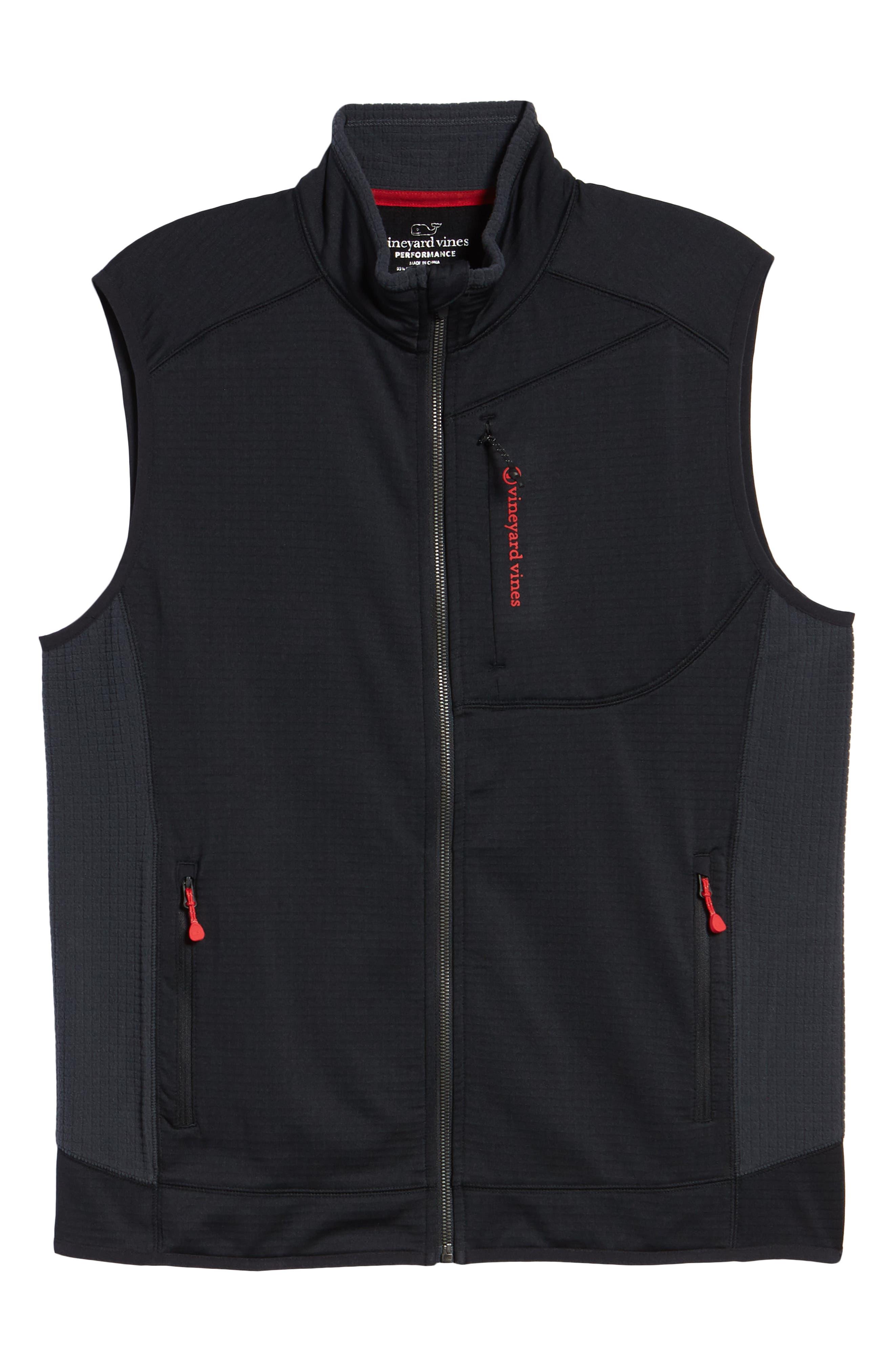 Grid Ripstop Fleece Vest,                             Alternate thumbnail 6, color,                             002
