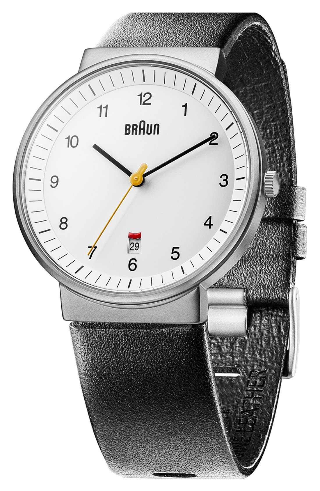 'Classic' Leather Strap Watch, 40mm,                             Alternate thumbnail 2, color,                             BLACK/ WHITE/ SILVER