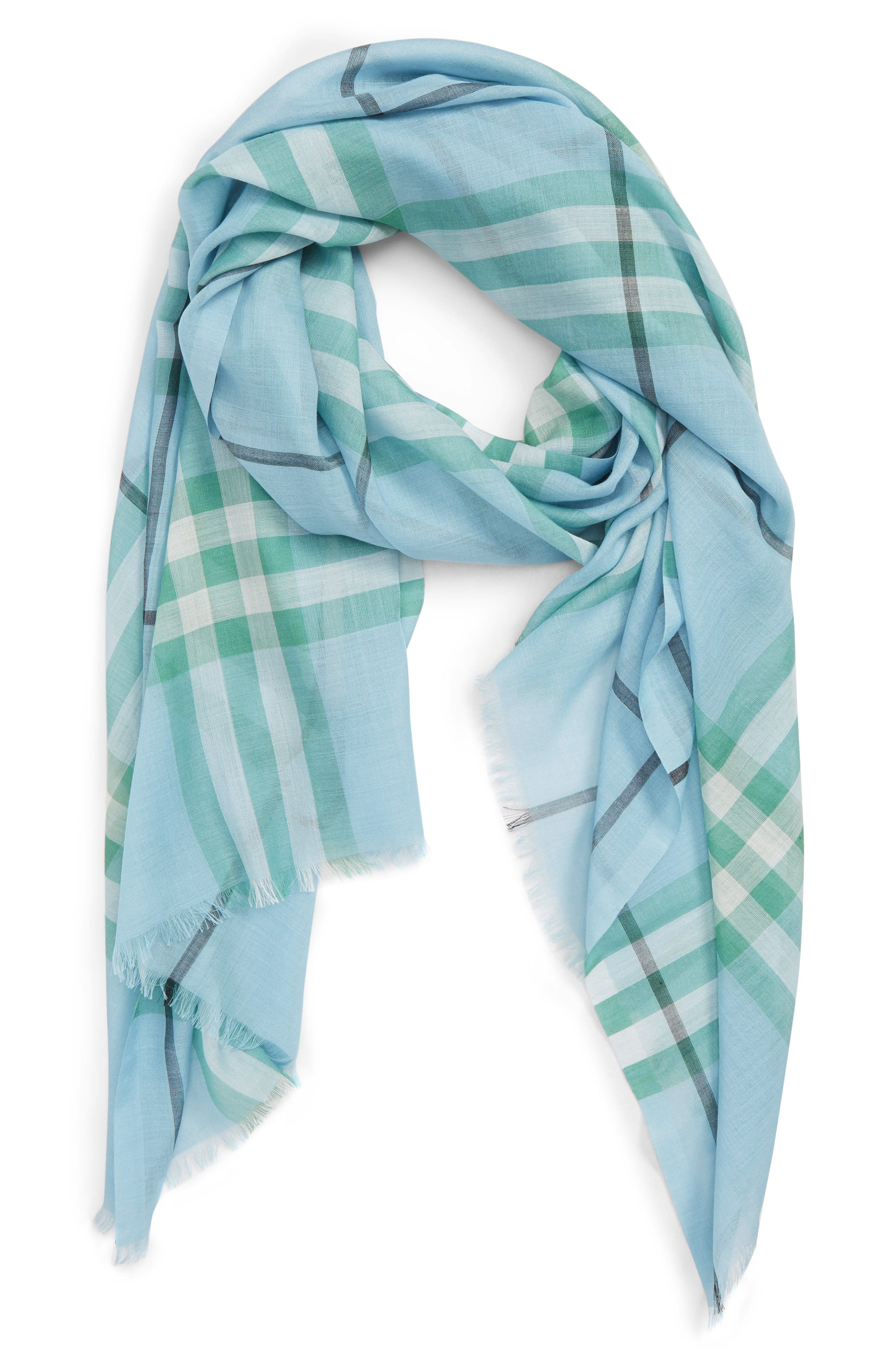 Giant Check Gauze Wool & Silk Scarf,                             Alternate thumbnail 2, color,                             PALE PERIDOT BLUE