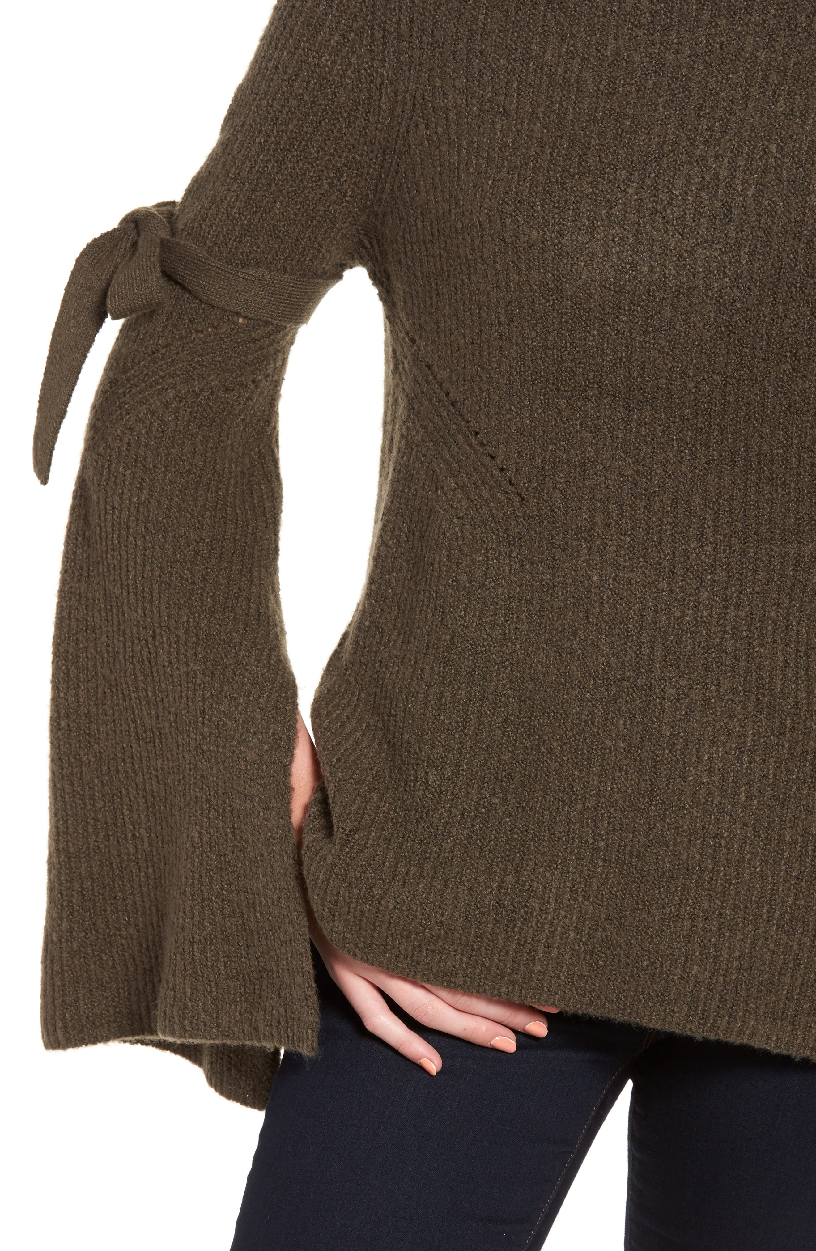 Tie Bell Sleeve Sweater,                             Alternate thumbnail 8, color,