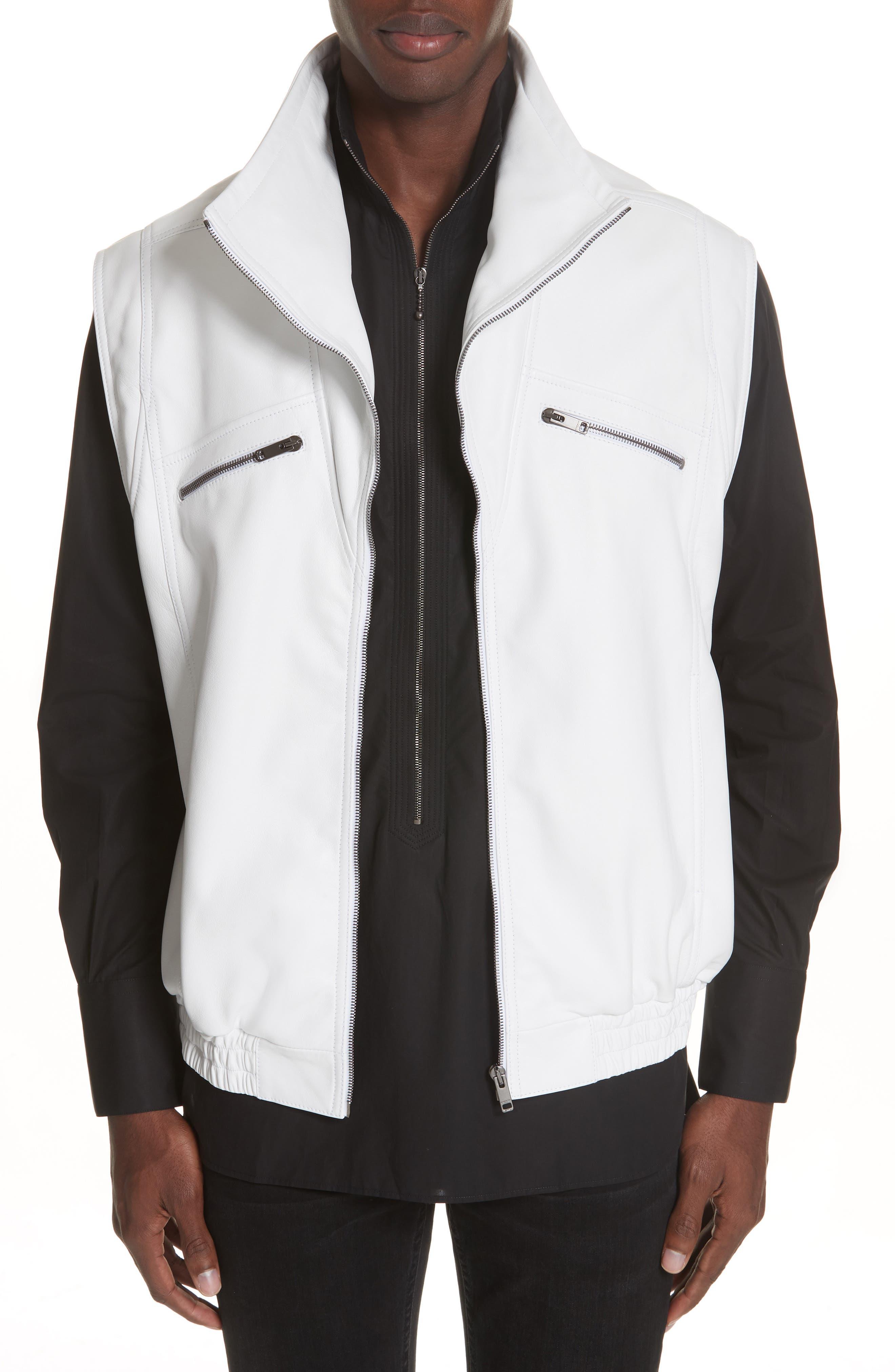 Sleeveless Zip Leather Vest,                         Main,                         color, WHITE