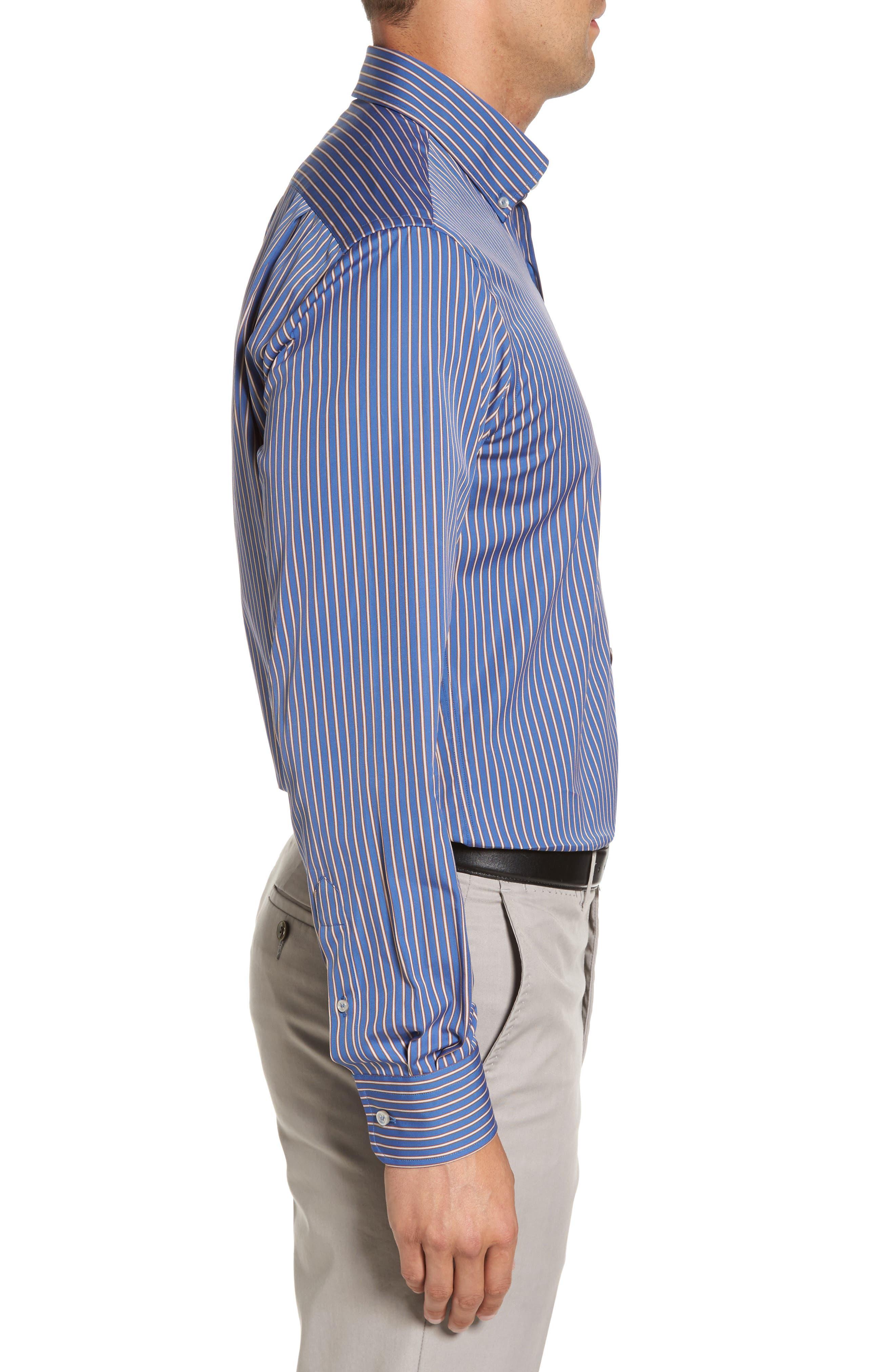 Paul&Shark Striped Sport Shirt,                             Alternate thumbnail 3, color,                             400