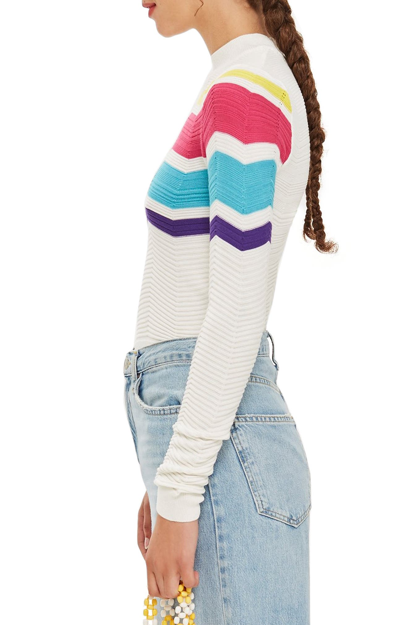 Chevron Stripe Crop Sweater,                             Alternate thumbnail 3, color,                             900