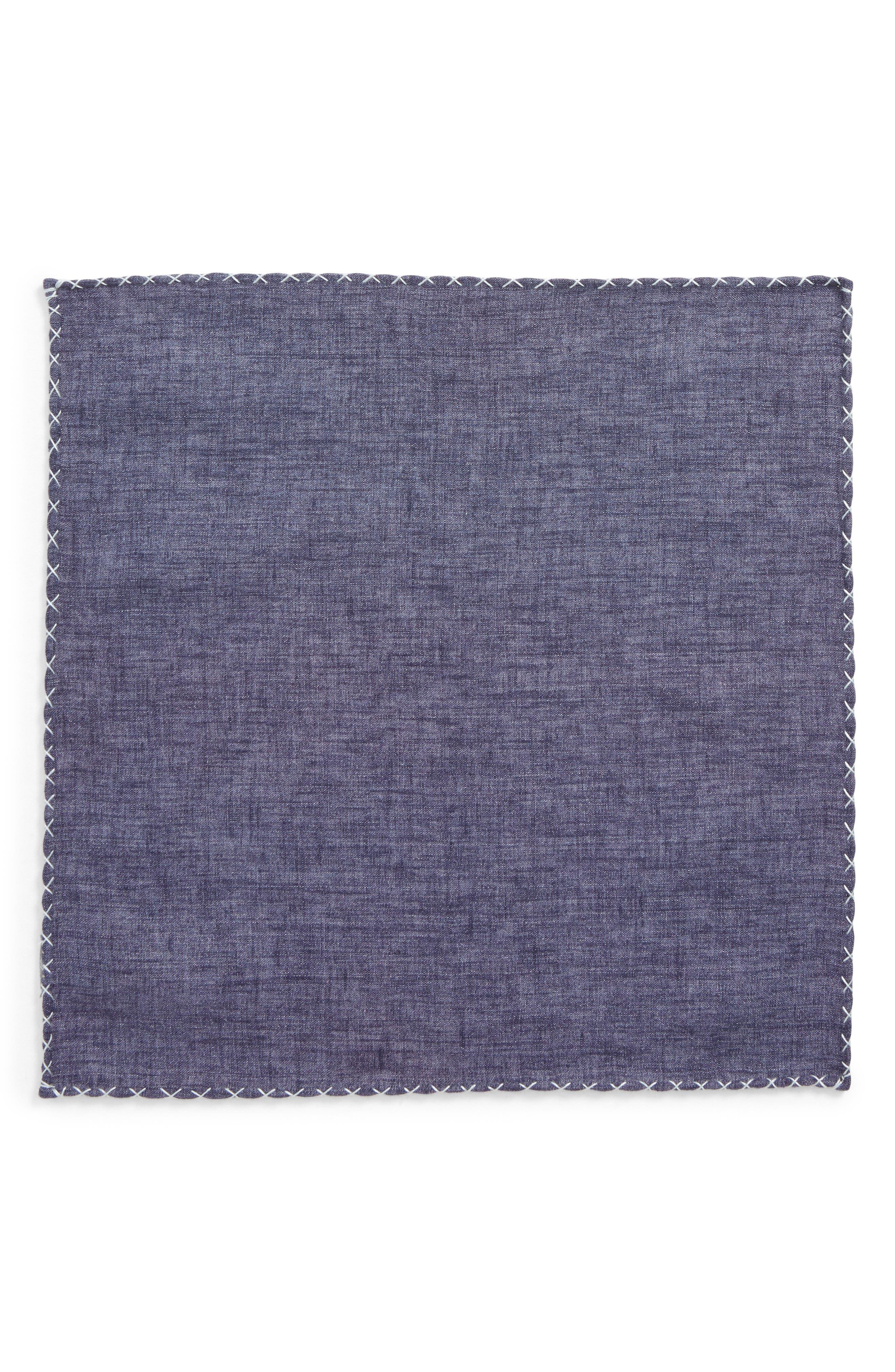 Solid Linen Pocket Square,                             Alternate thumbnail 2, color,                             020