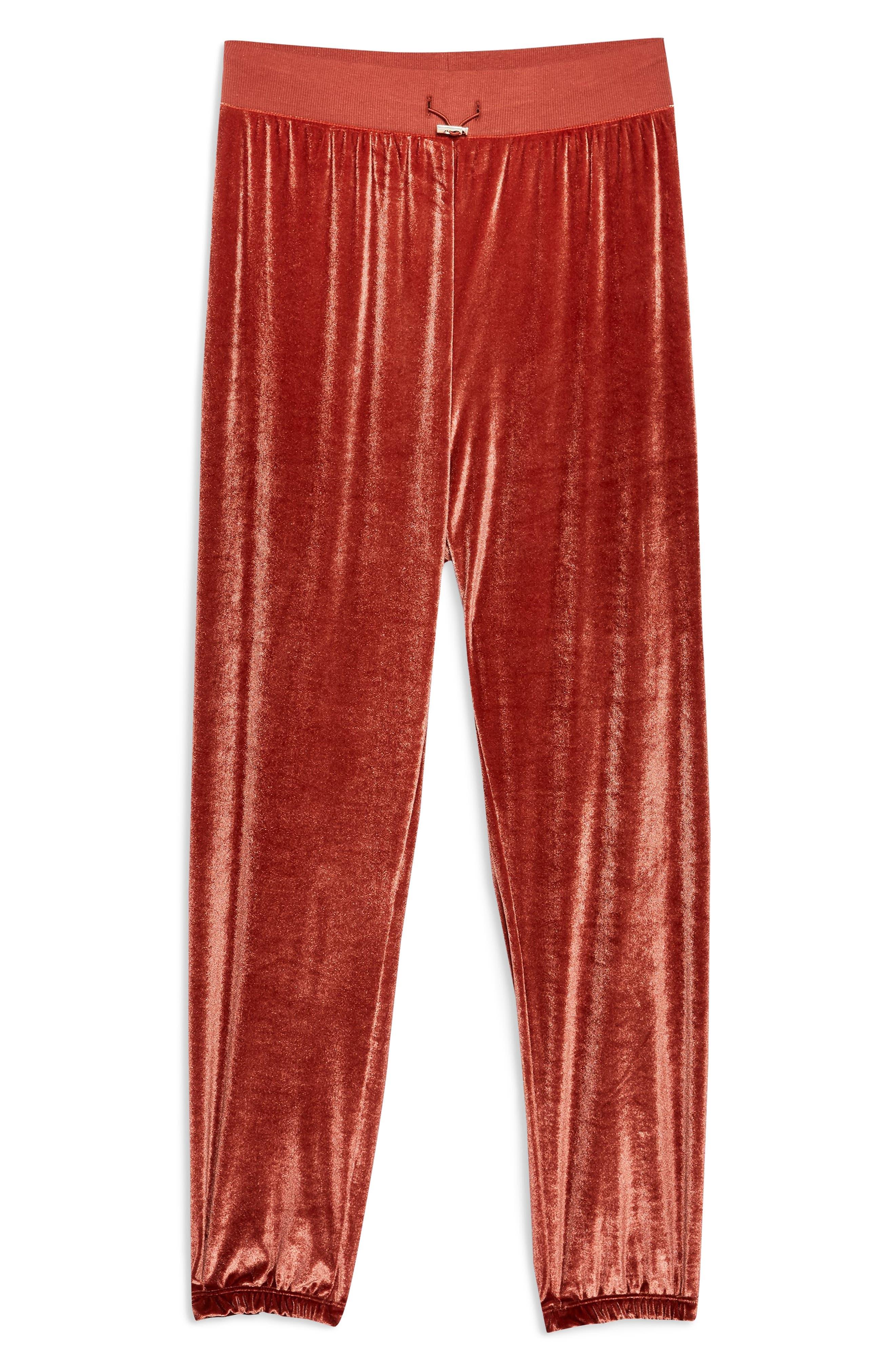 Velour Jogger Pants,                             Alternate thumbnail 3, color,                             ROSE GOLD