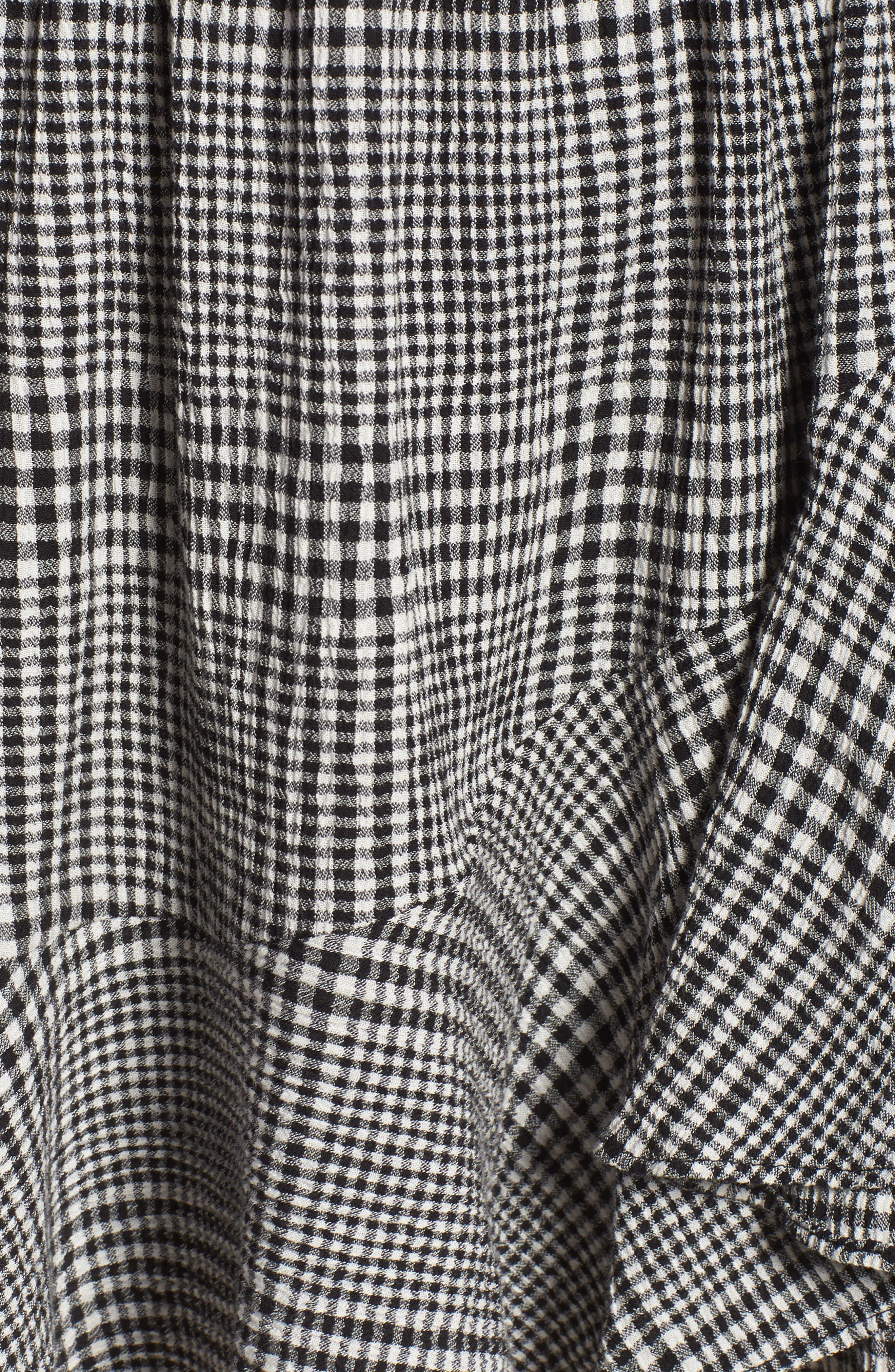Glen Plaid Wrap Style Romper,                             Alternate thumbnail 6, color,                             BLACK MIX GINGHAM