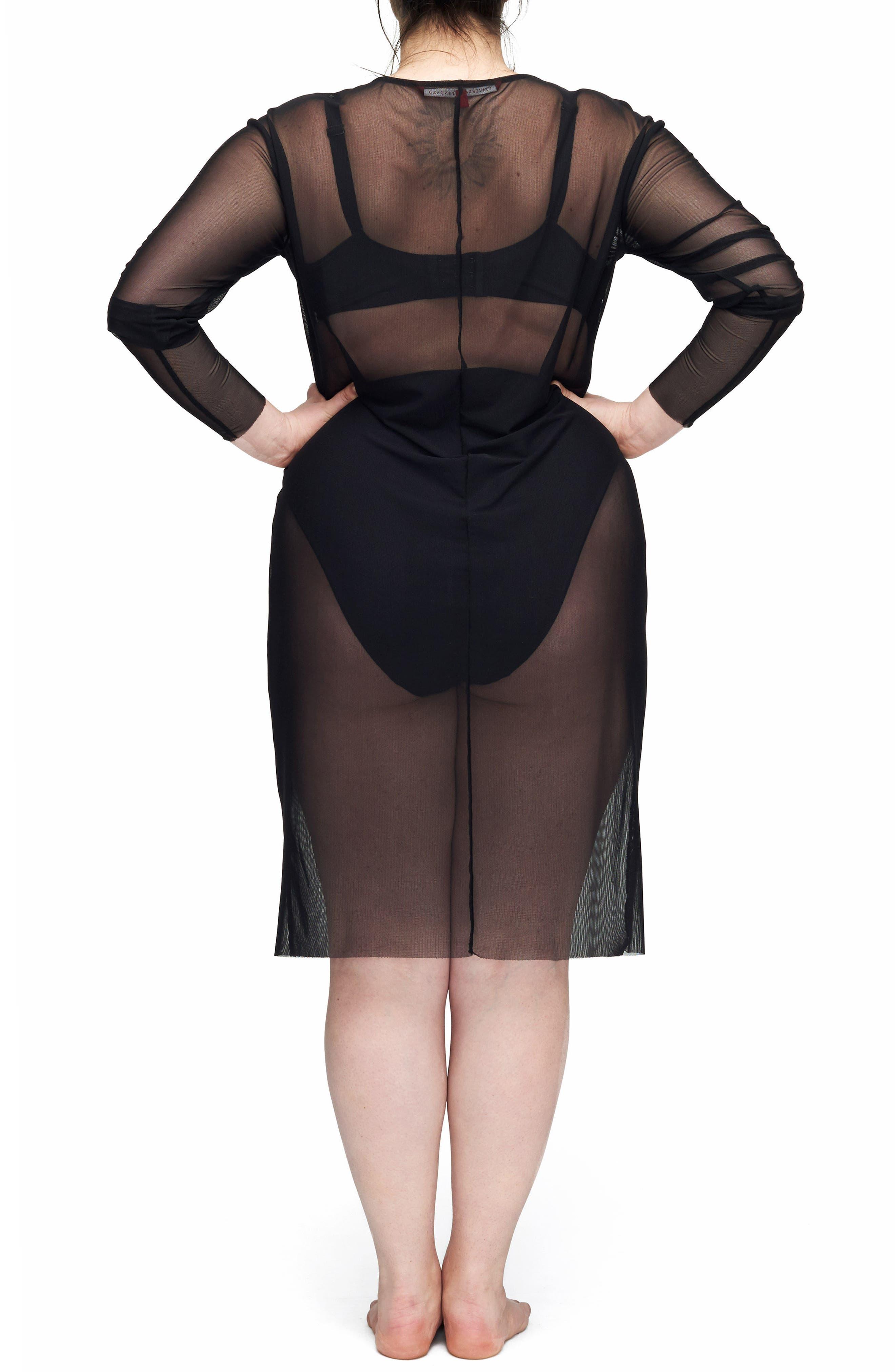 Thames Fog Sheer Dress,                             Alternate thumbnail 2, color,                             BLACK