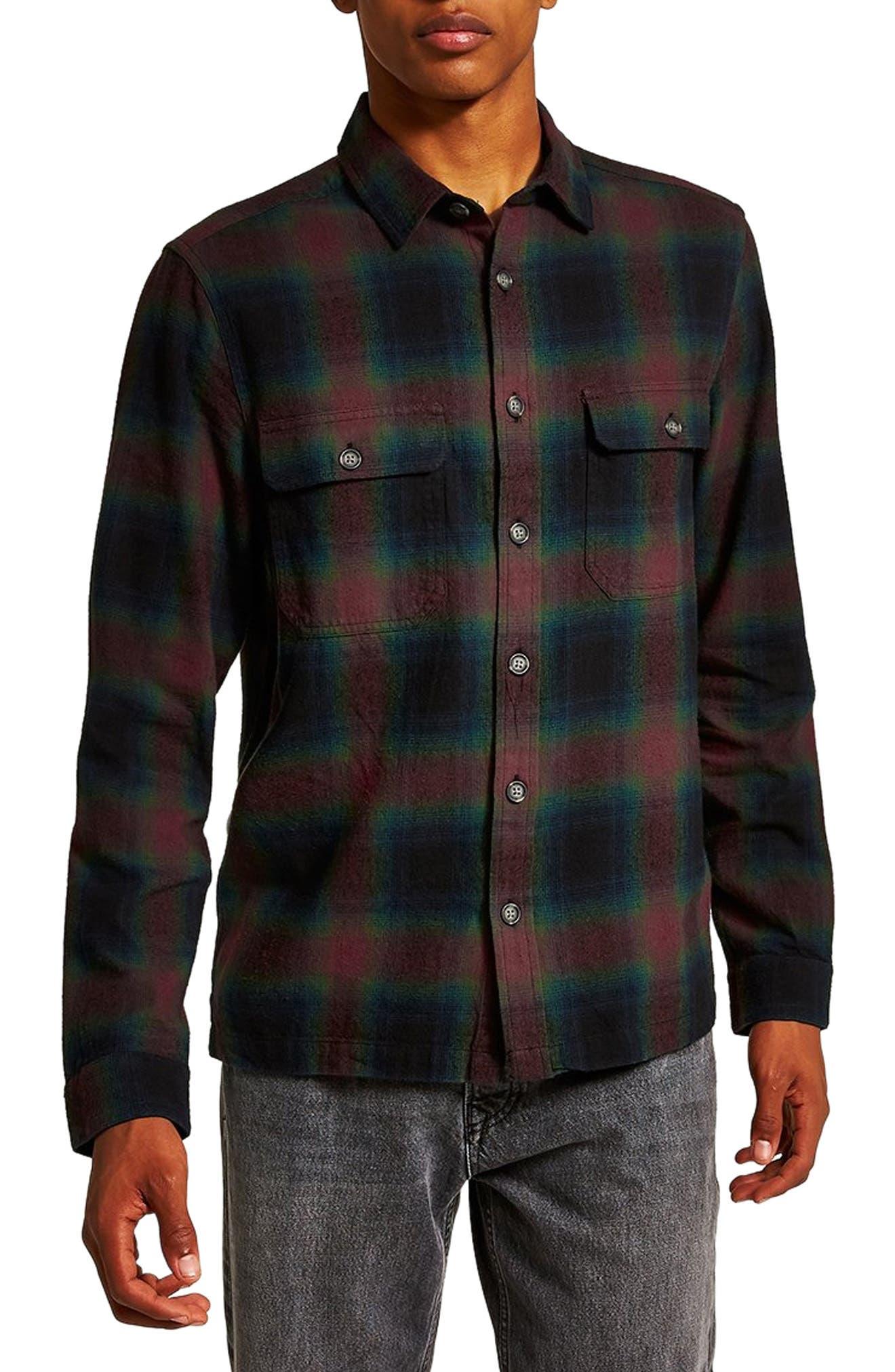 Topman Cormack Check Classic Shirt, Red