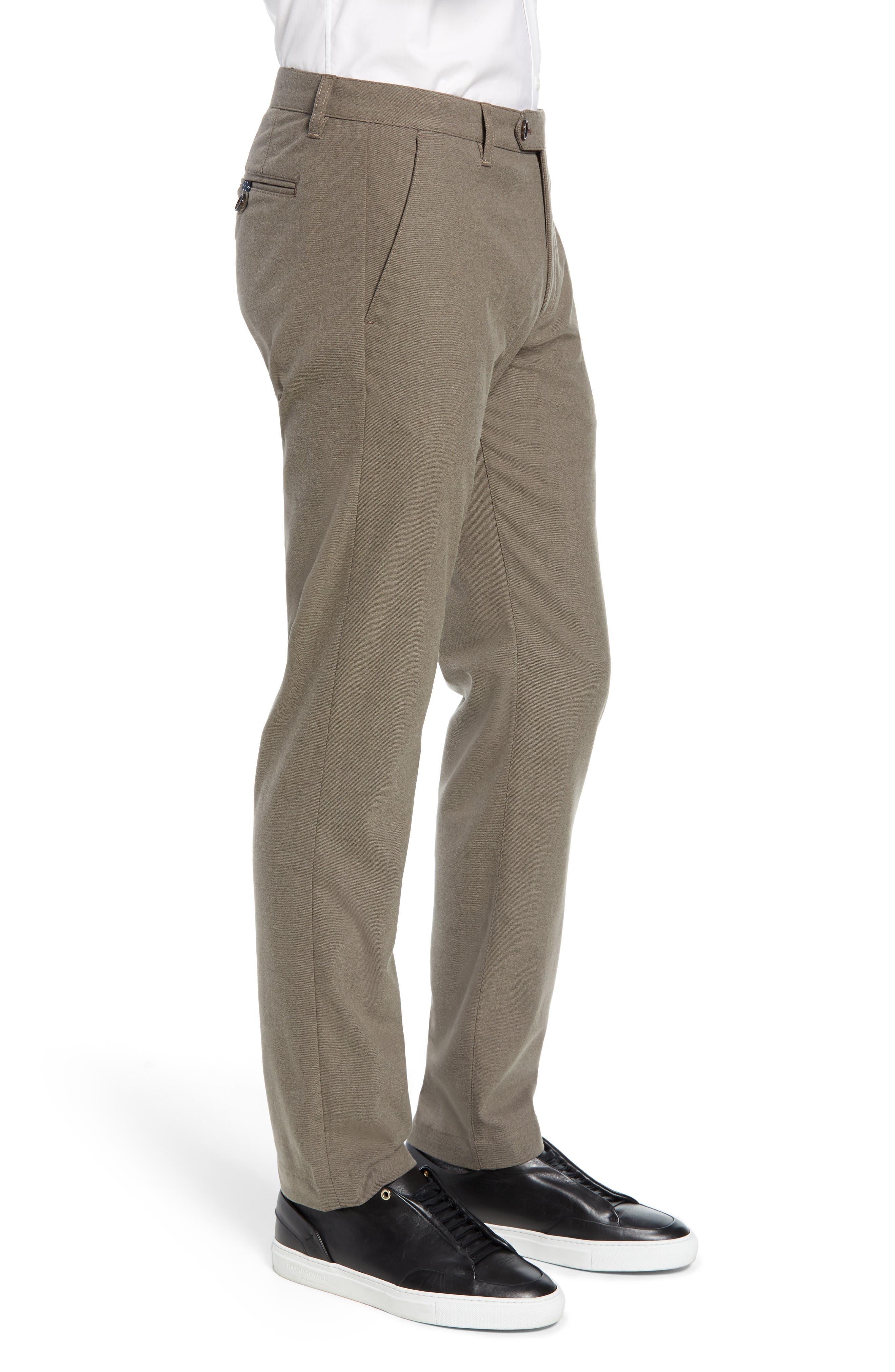 Semplin Slim Fit Brushed Trousers,                             Alternate thumbnail 3, color,                             NATURAL