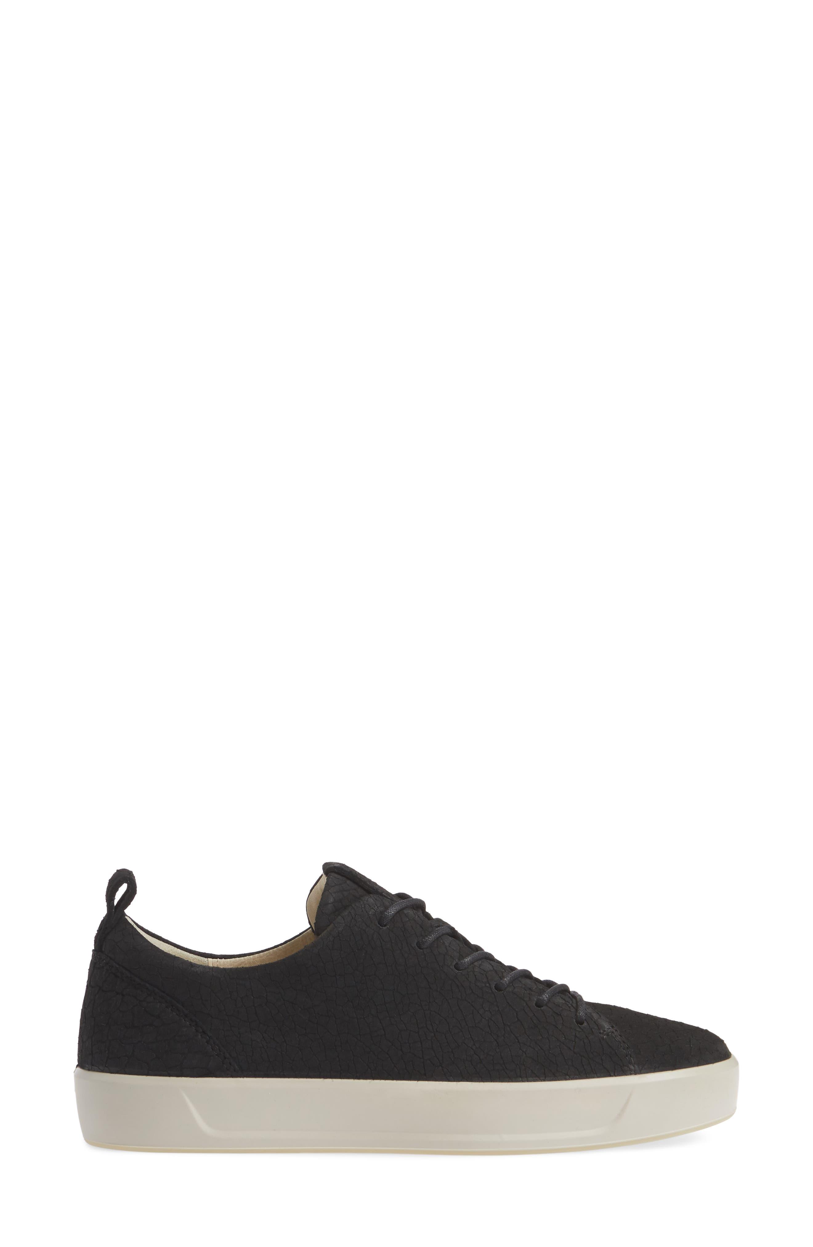 Soft 8 Sneaker,                             Alternate thumbnail 3, color,                             BLACK CRACKLED LEATHER