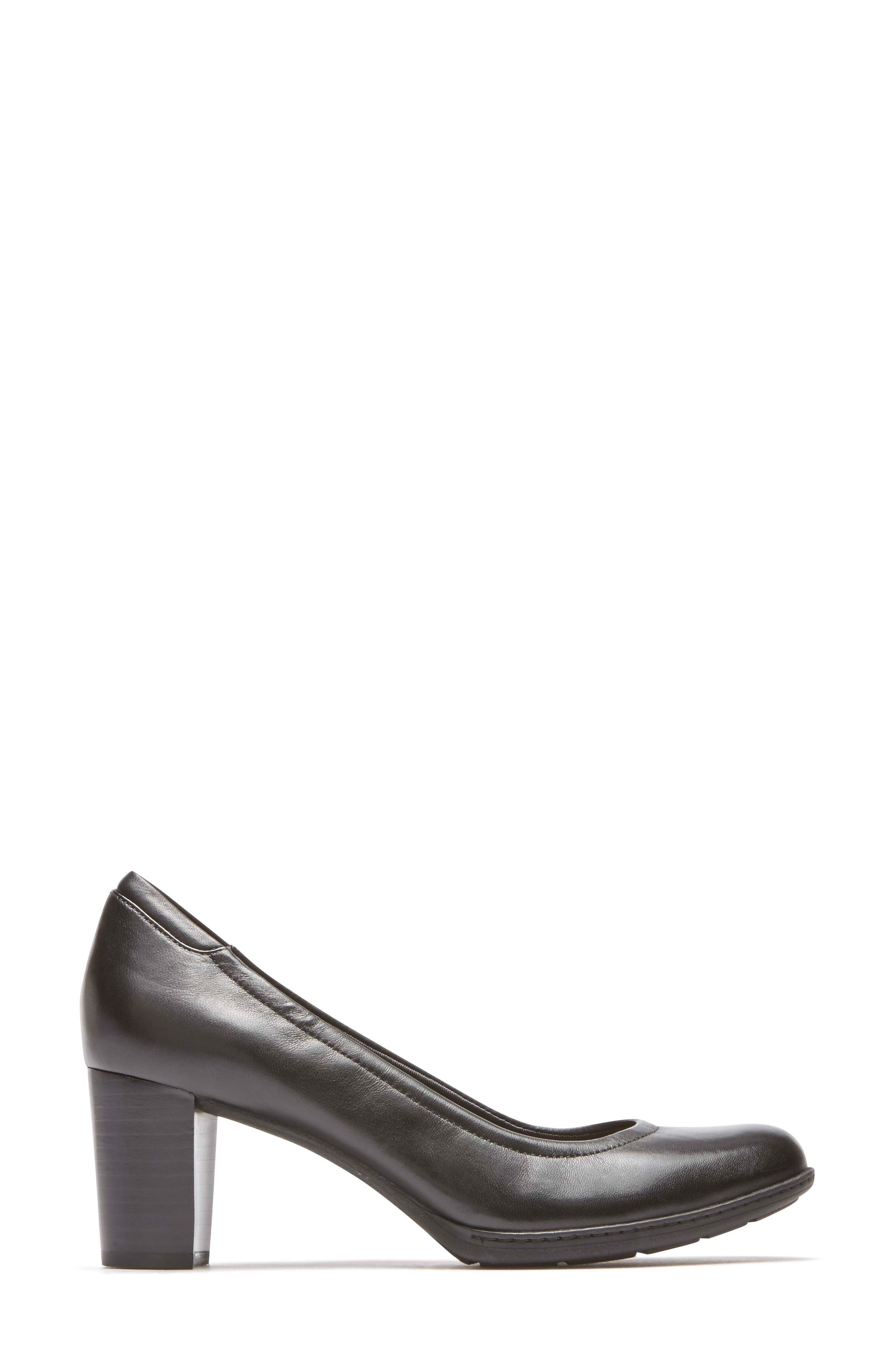 Chaya Round Toe Pump,                             Alternate thumbnail 3, color,                             BLACK LEATHER