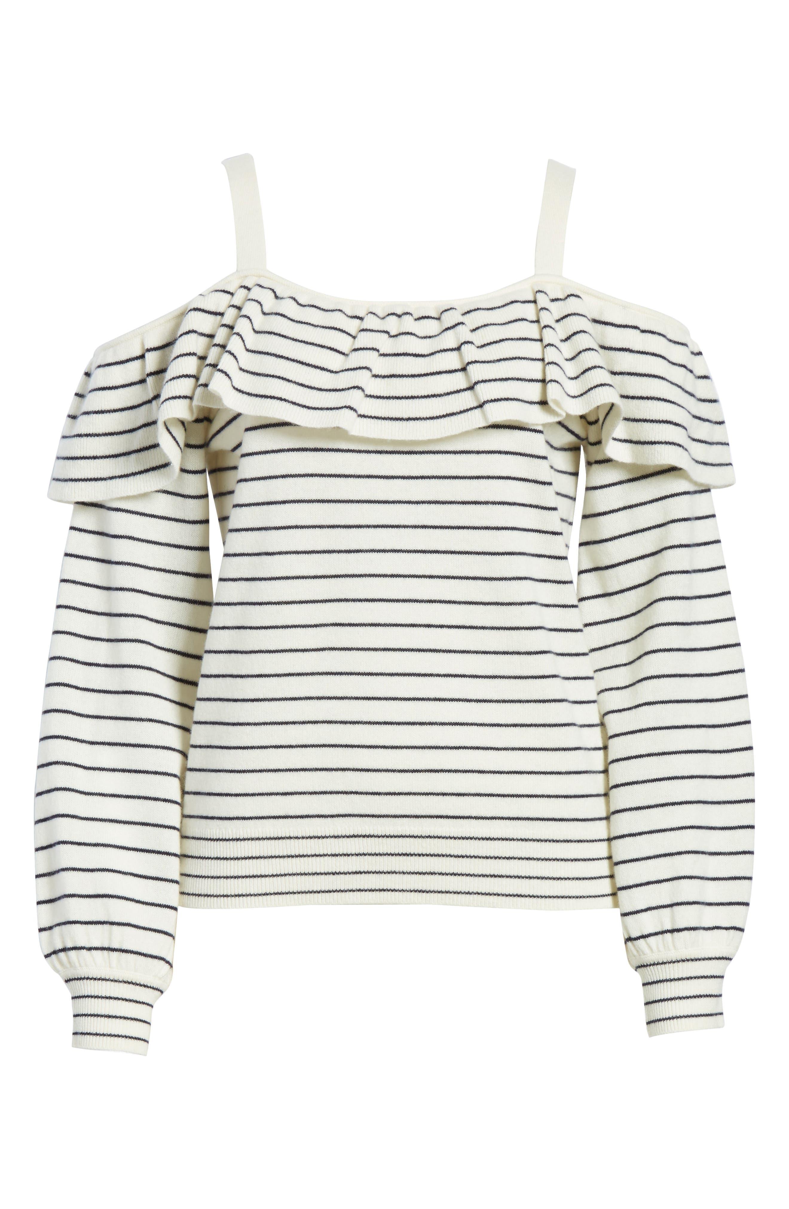 Delbin B Stripe Cold Shoulder Sweater,                             Alternate thumbnail 6, color,                             140