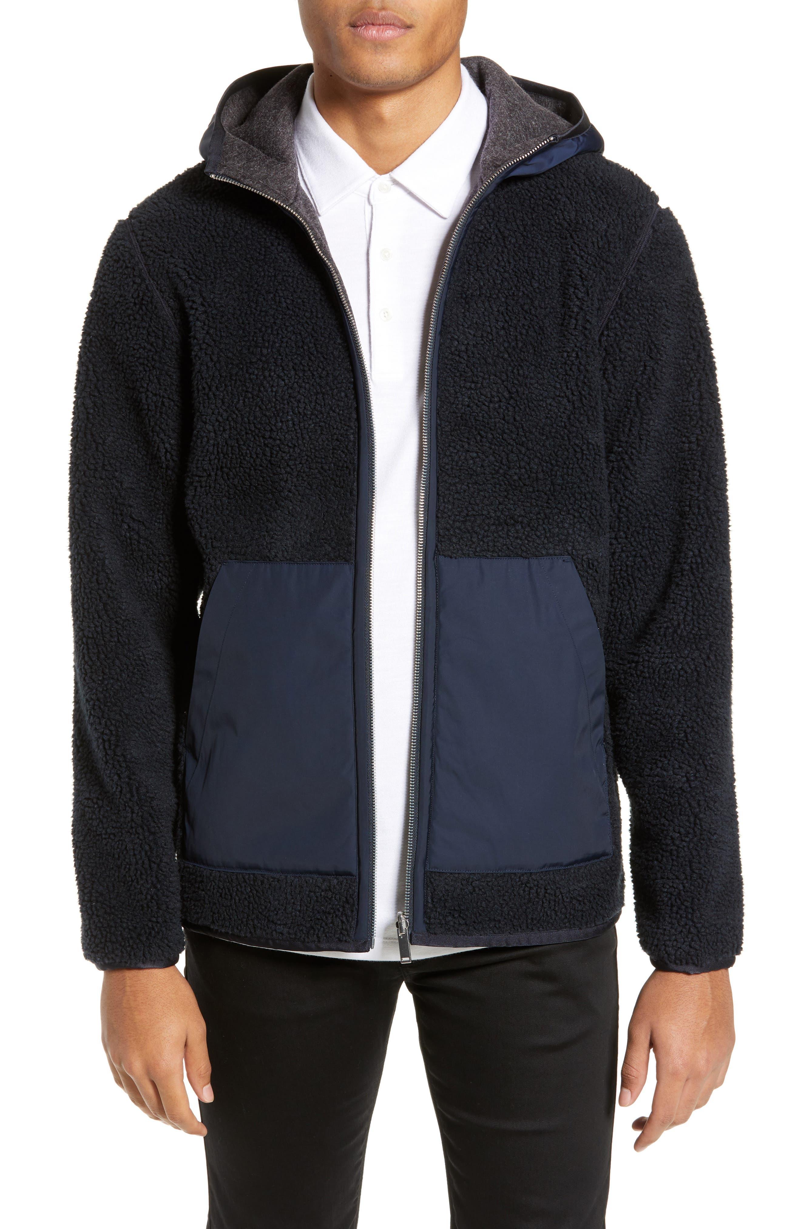THEORY,                             Polar Fleece Reversible Zip Hoodie,                             Main thumbnail 1, color,                             ECLIPSE/ ASHPALT MELANGE