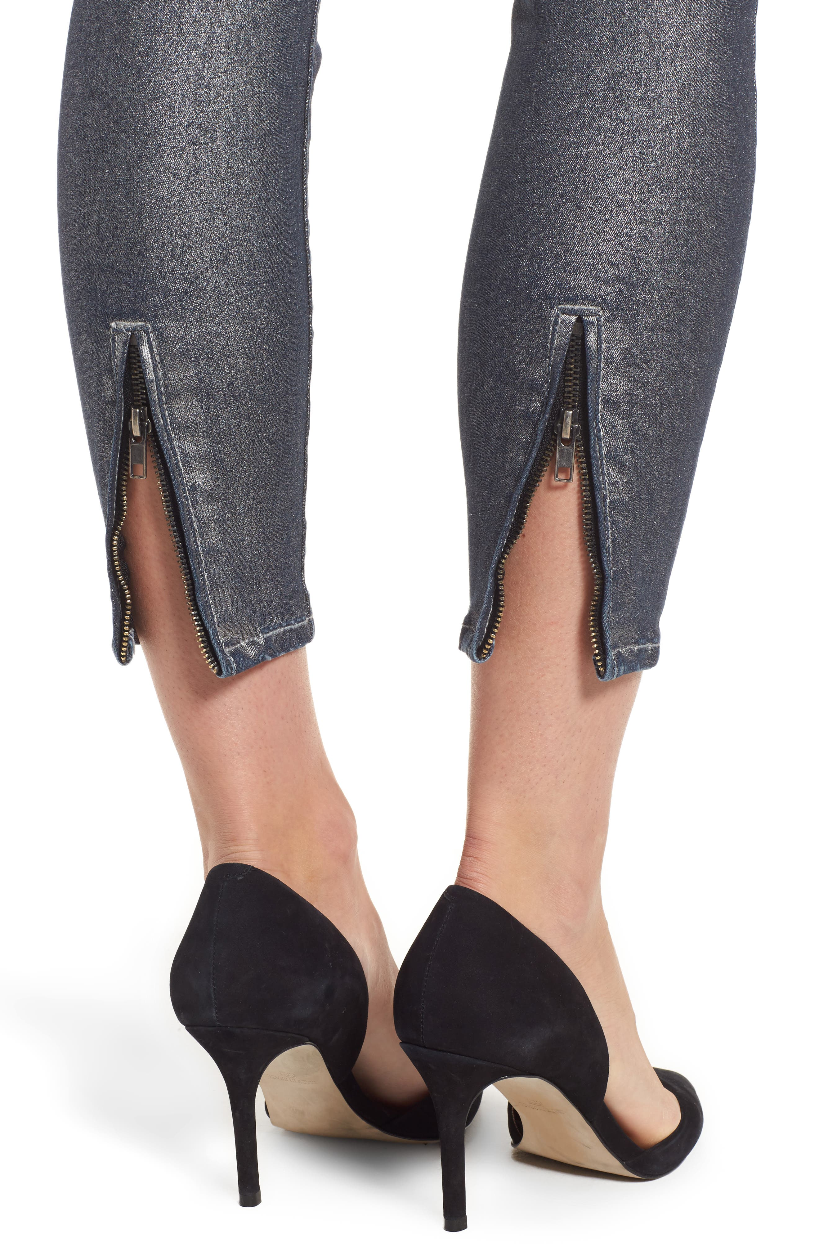 Connie Ankle Zipper Jeans,                             Alternate thumbnail 4, color,                             CHARCOAL GREY