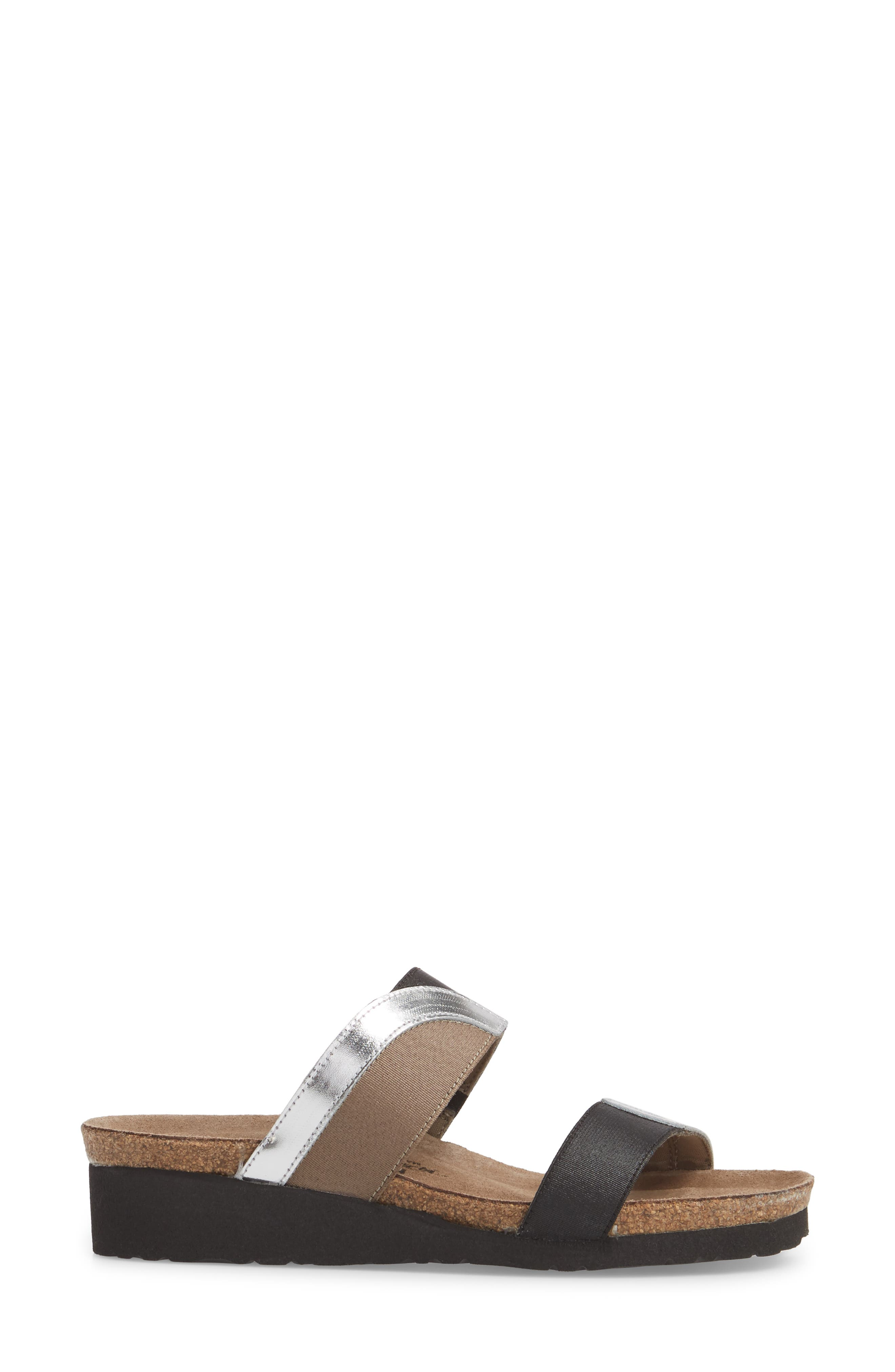 Frankie Slide Sandal,                             Alternate thumbnail 3, color,                             SILVER MIRROR LEATHER