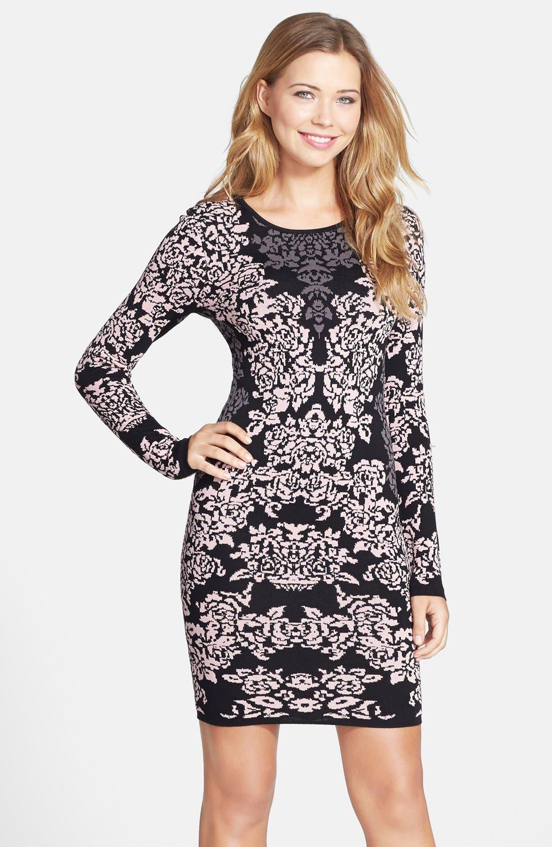 Jacquard Knit Body-Con Dress,                         Main,                         color, 650