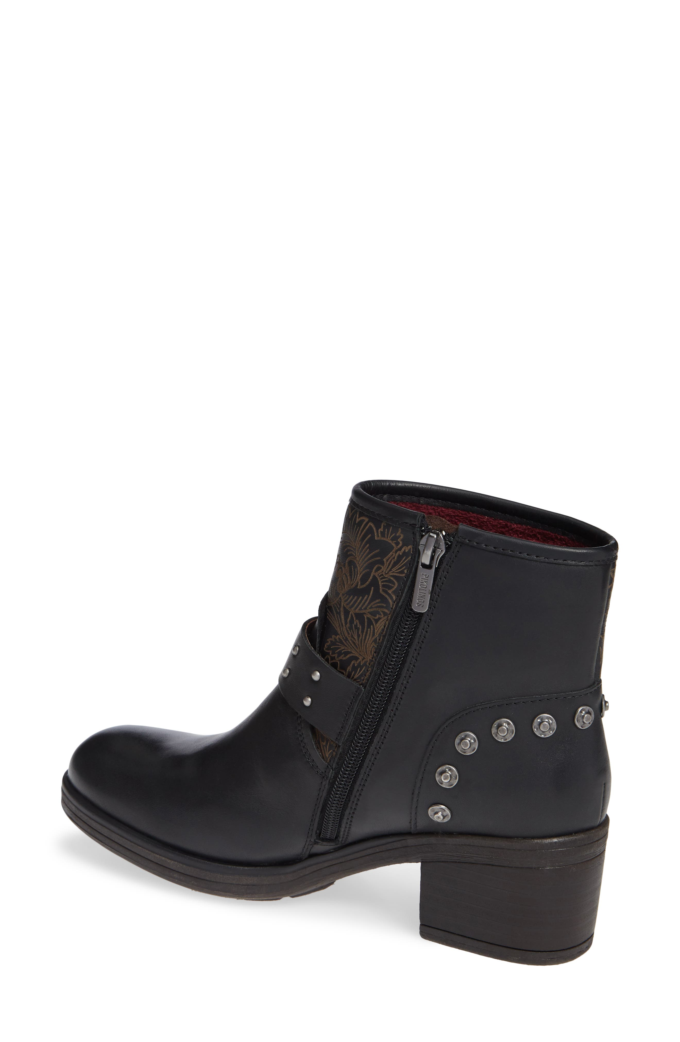 Lyon Embroidered Engineer Bootie,                             Alternate thumbnail 2, color,                             BLACK LEATHER