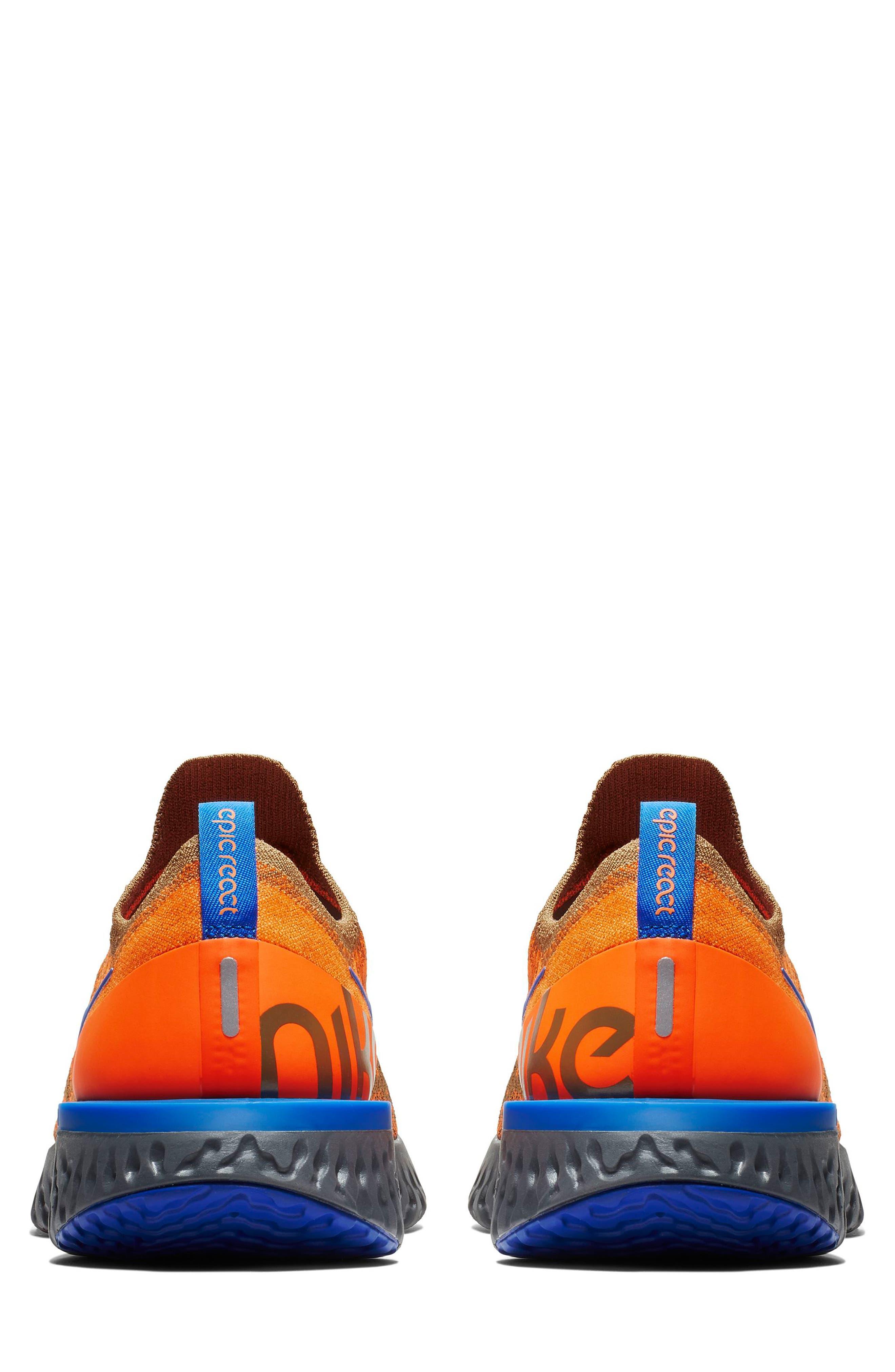 Epic React Flyknit Running Shoe,                             Alternate thumbnail 5, color,                             GOLDEN BEIGE/ BLUE/ ORANGE