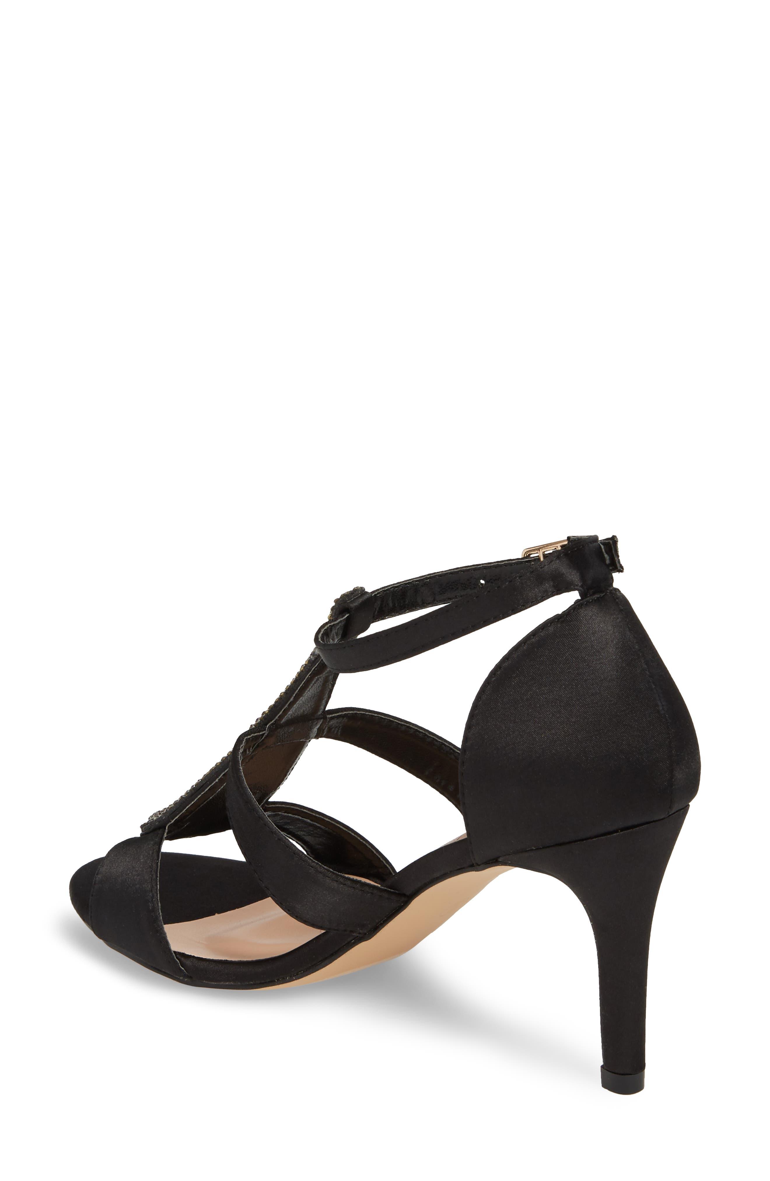 Ritz Crystal Embellished Sandal,                             Alternate thumbnail 2, color,                             BLACK FABRIC