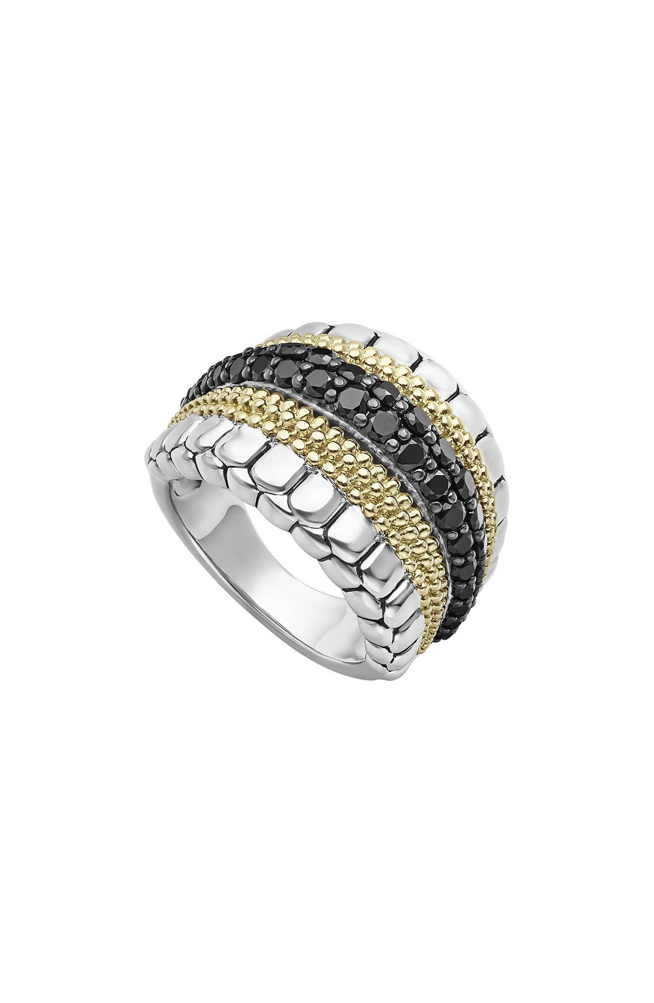 Diamond Lux Black Diamond Band Ring,                             Main thumbnail 1, color,                             SILVER/ GOLD/ BLACK DIAMOND