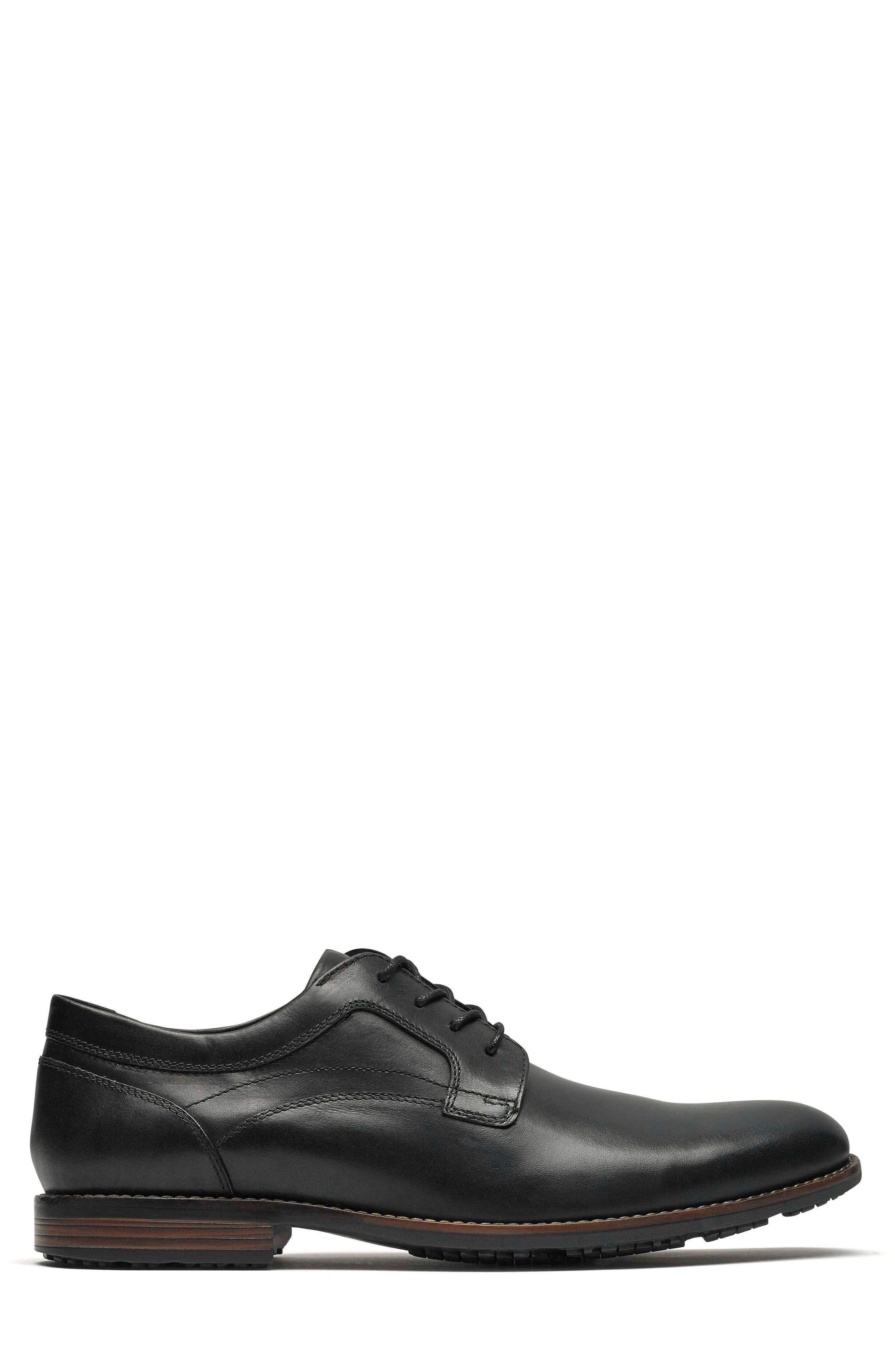 Dustyn Waterproof Plain Toe Derby,                             Alternate thumbnail 3, color,                             BLACK LEATHER