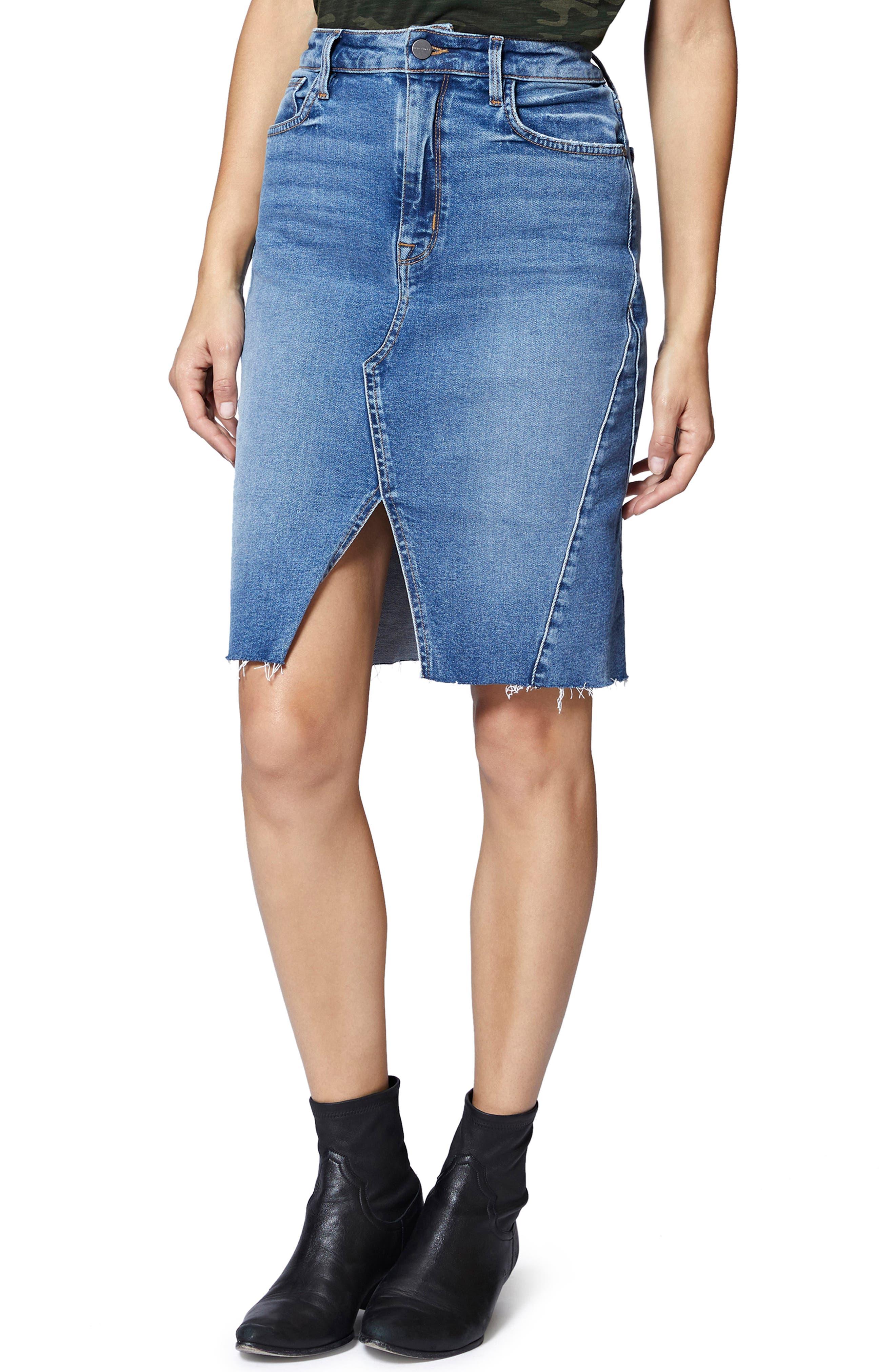 Sia A-Line Denim Skirt,                             Alternate thumbnail 4, color,                             FLAT IRON RIGID