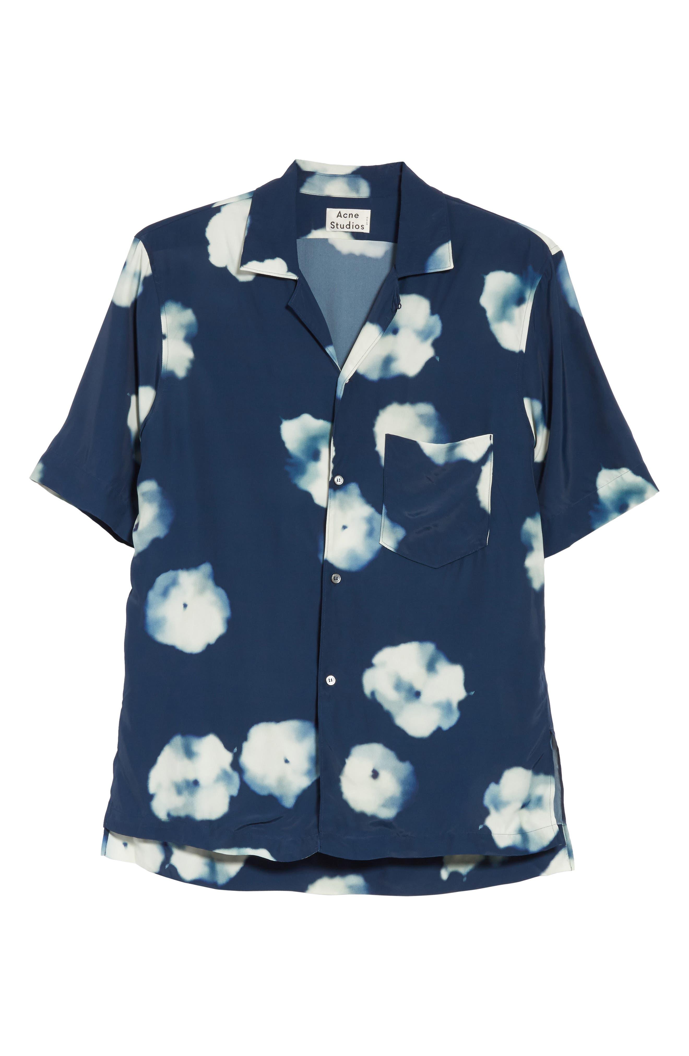 Elms Flower Print Shirt,                             Alternate thumbnail 6, color,                             401