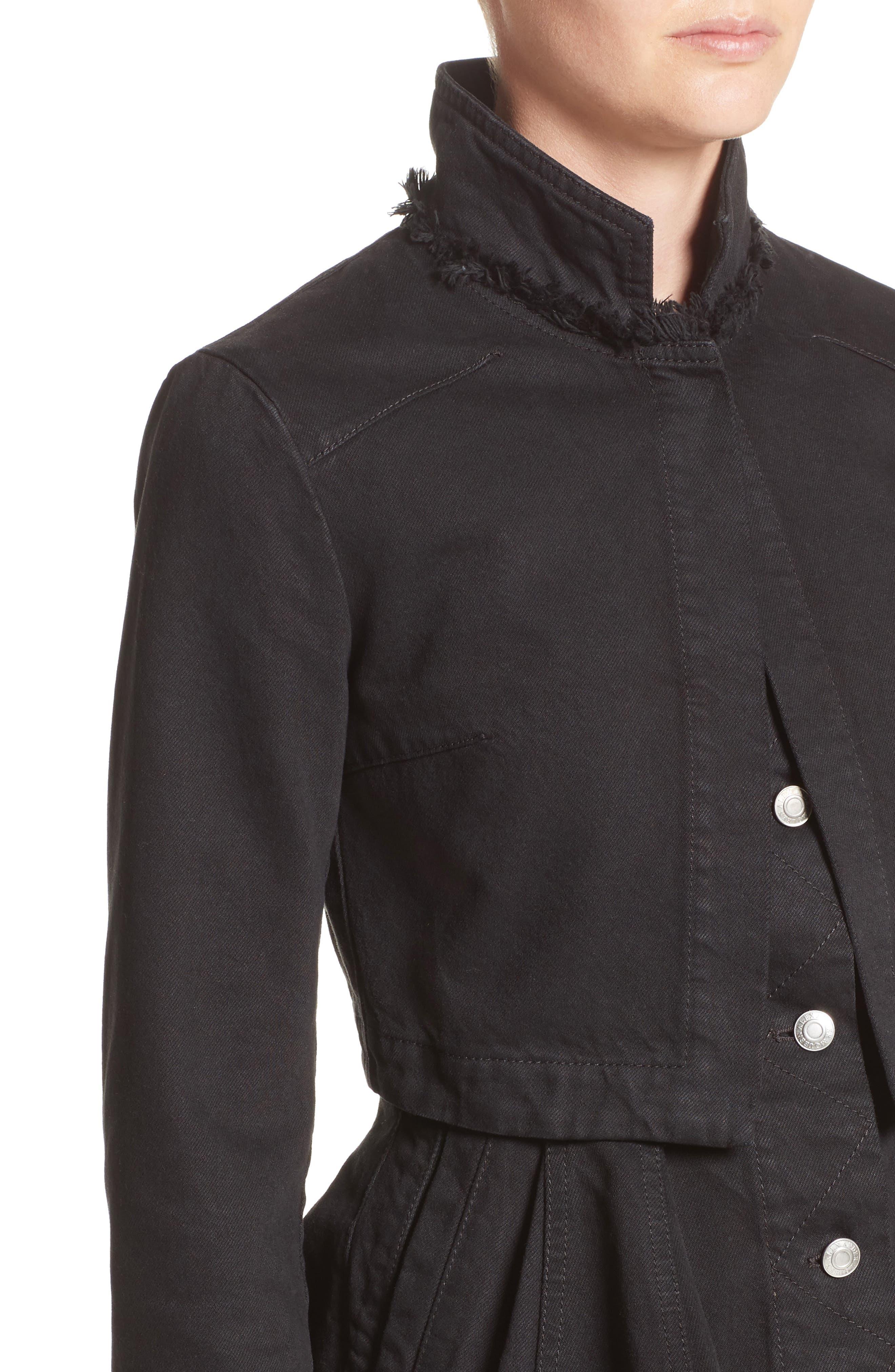 Peplum Denim Jacket,                             Alternate thumbnail 4, color,                             001