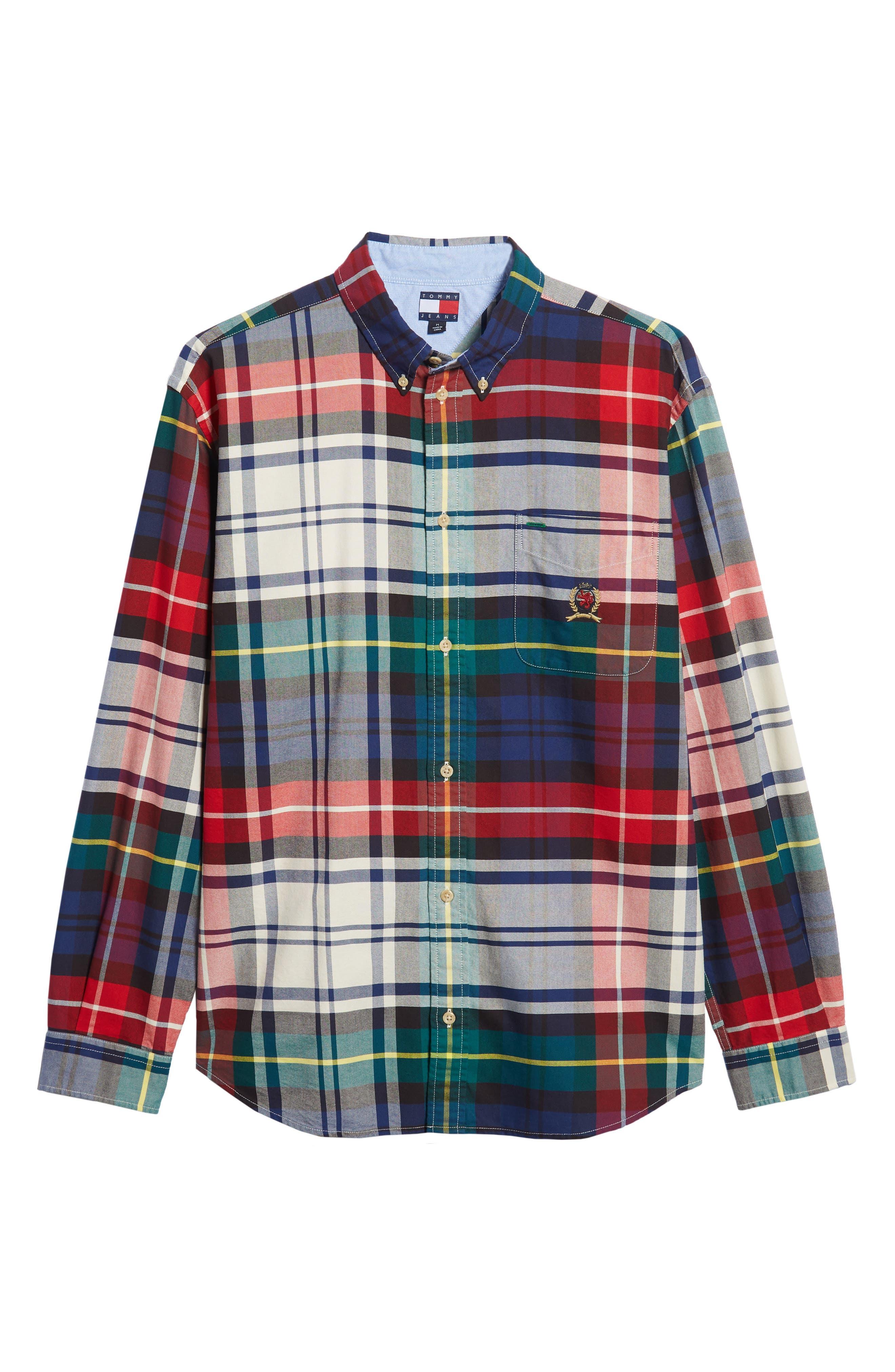 TJM Plaid Crest Sport Shirt,                             Alternate thumbnail 5, color,                             CHECK DARK SAPPHIRE / MULTI