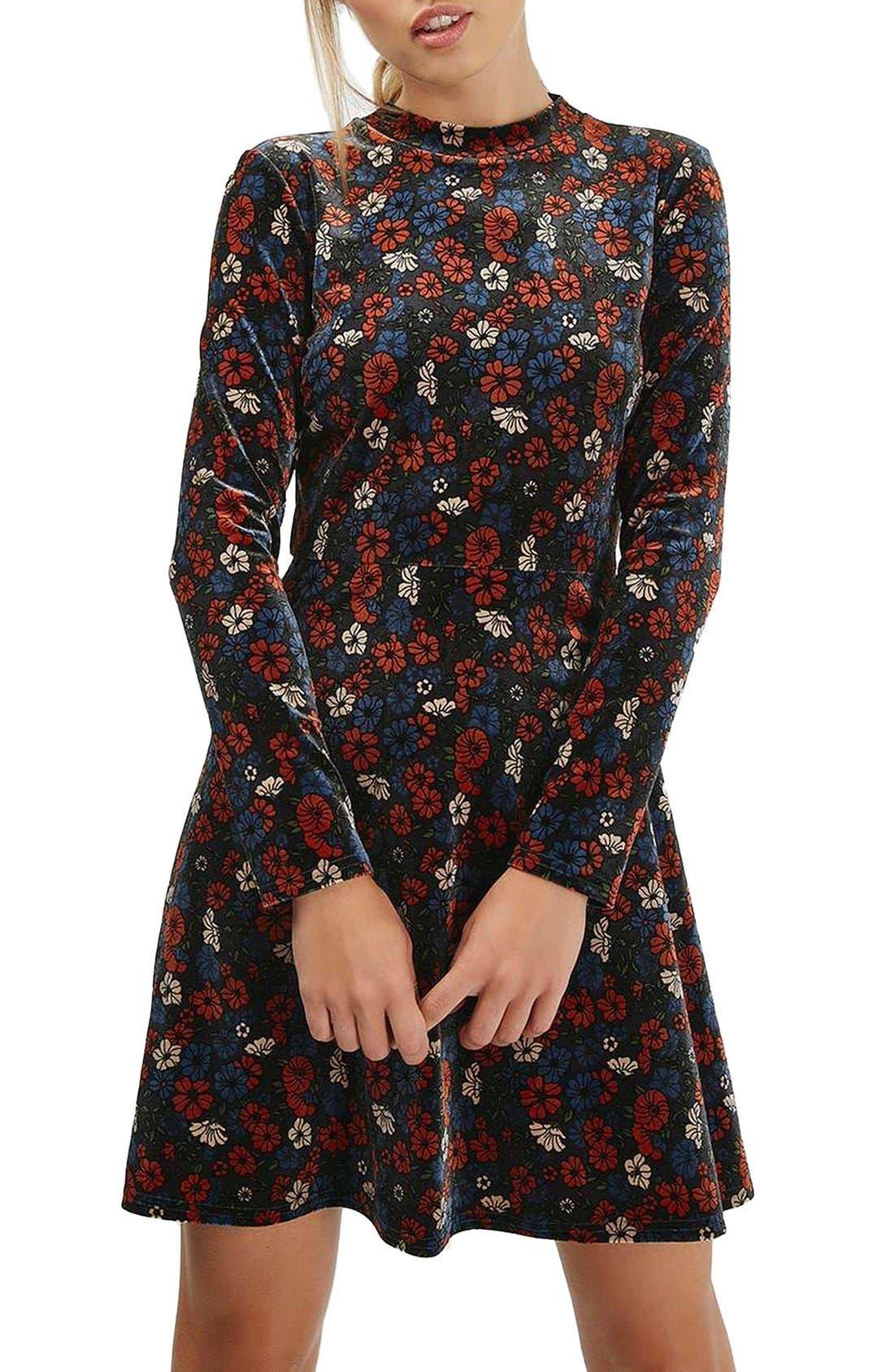 Ditsy Print Velvet Skater Dress,                             Main thumbnail 1, color,                             400
