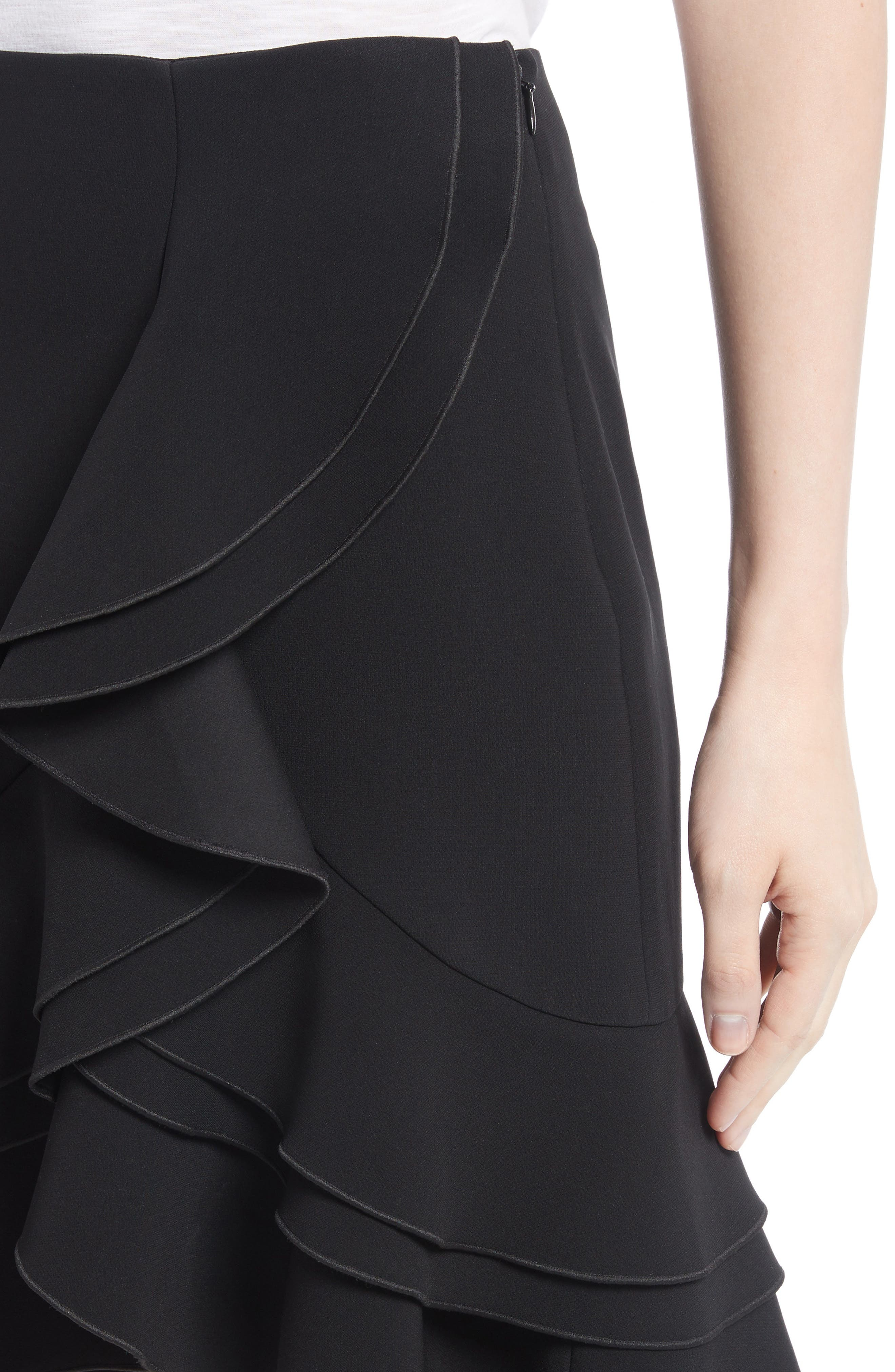 Ruffle Stretch Cady Skirt,                             Alternate thumbnail 4, color,                             001