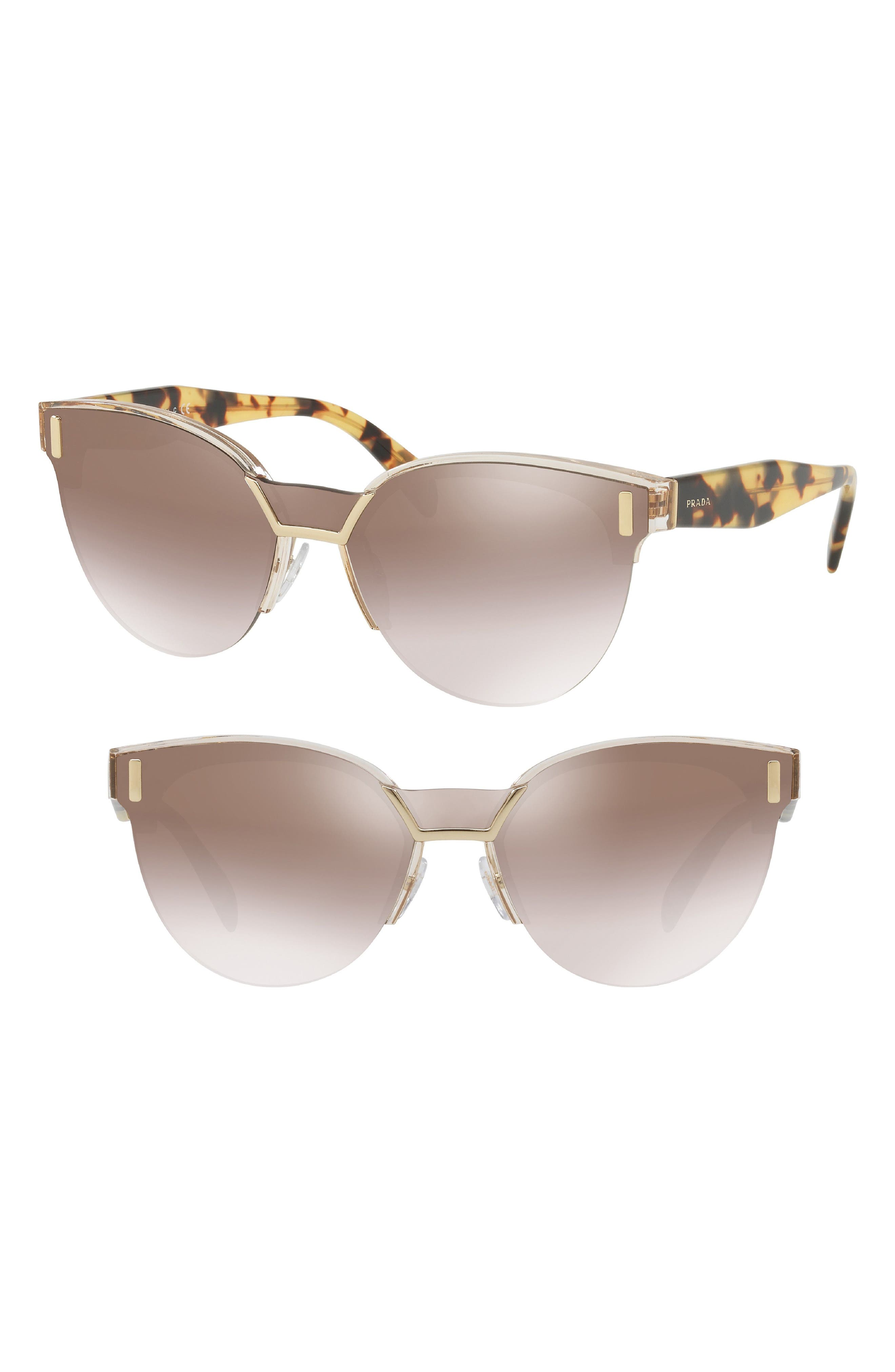 43mm Semi Rimless Sunglasses,                             Alternate thumbnail 2, color,                             TRANSPARENT BROWN