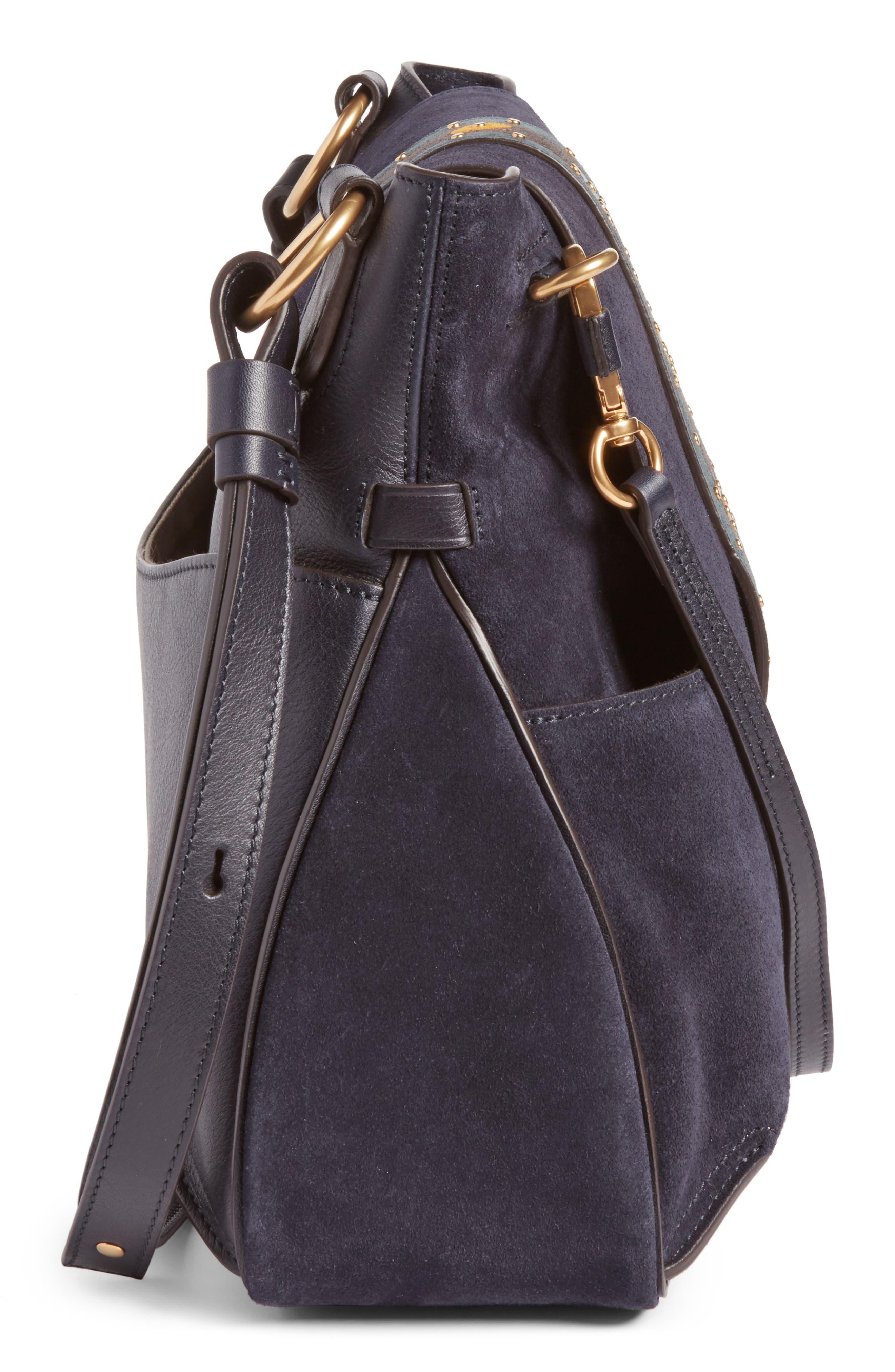 Medium Lexa Suede Shoulder Bag,                             Alternate thumbnail 4, color,                             412