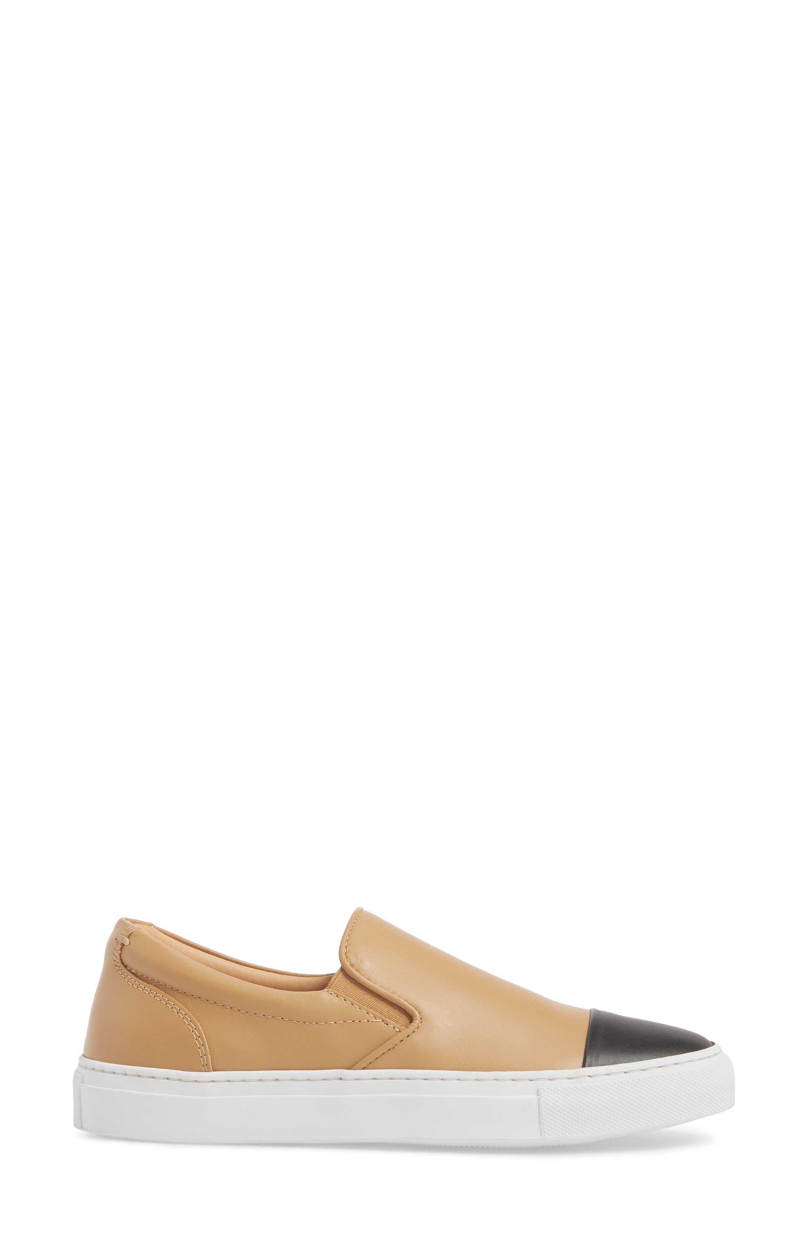 Wooster Cap Toe Slip-On Sneaker,                             Alternate thumbnail 3, color,                             ALMOND