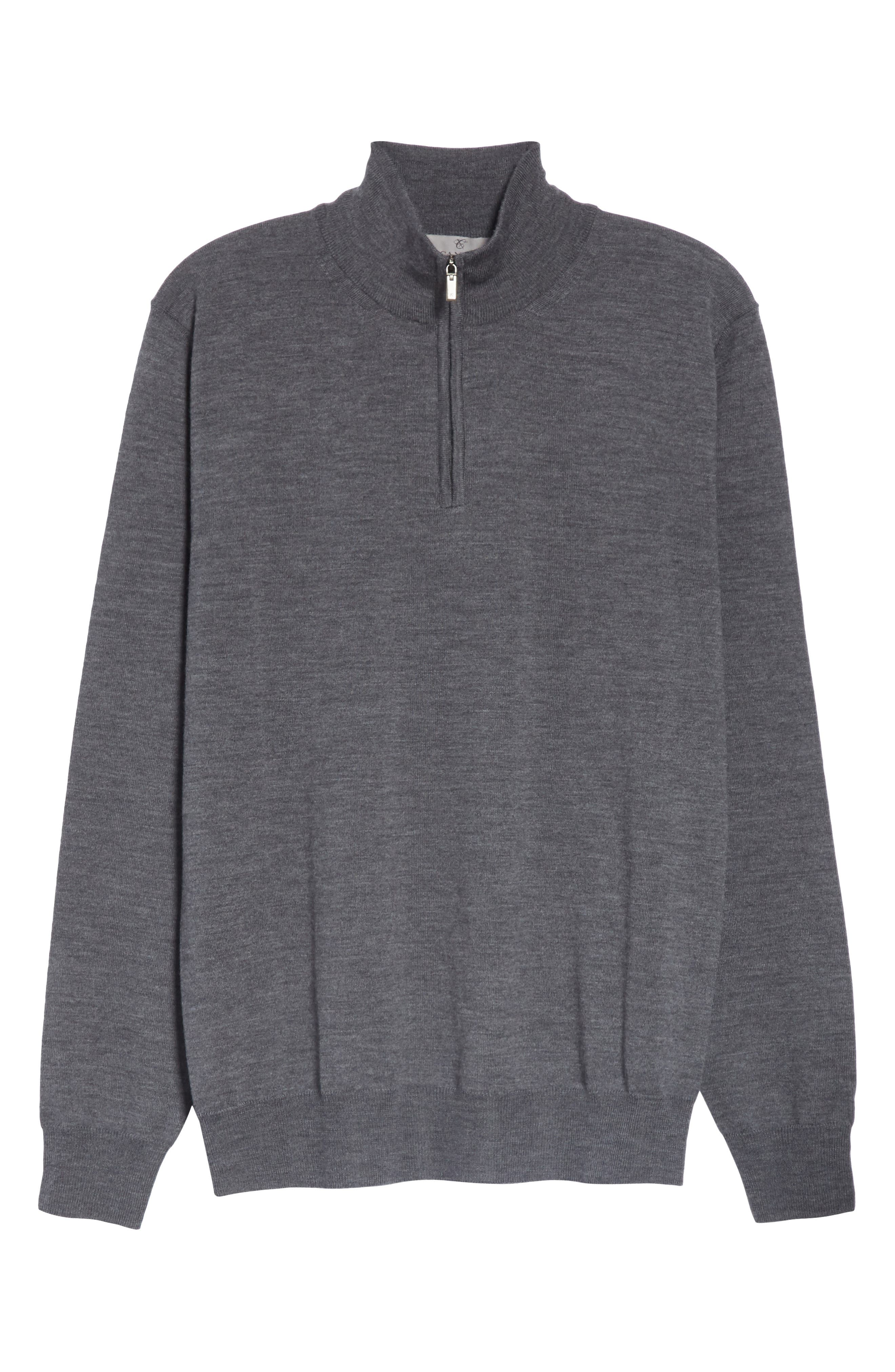 Wool Quarter Zip Pullover,                             Alternate thumbnail 6, color,                             CHARCOAL