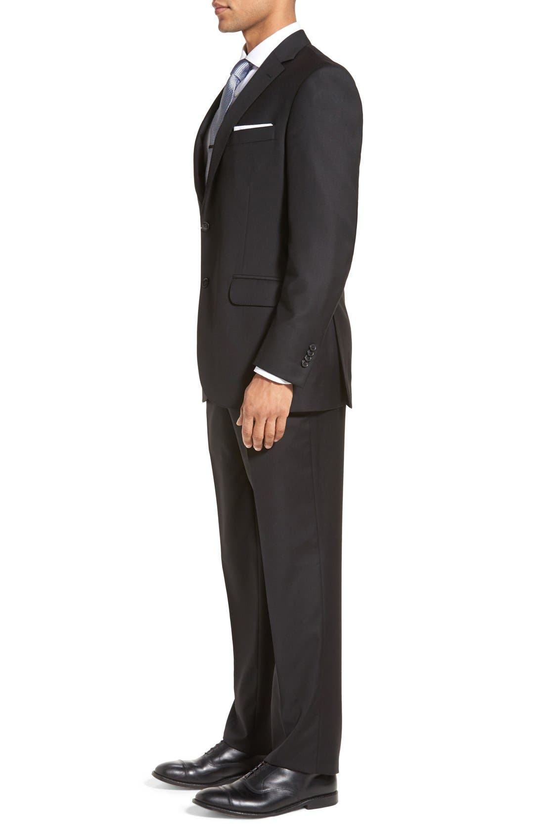 PETER MILLAR,                             Flynn Classic Fit Solid Wool Suit,                             Alternate thumbnail 3, color,                             BLACK