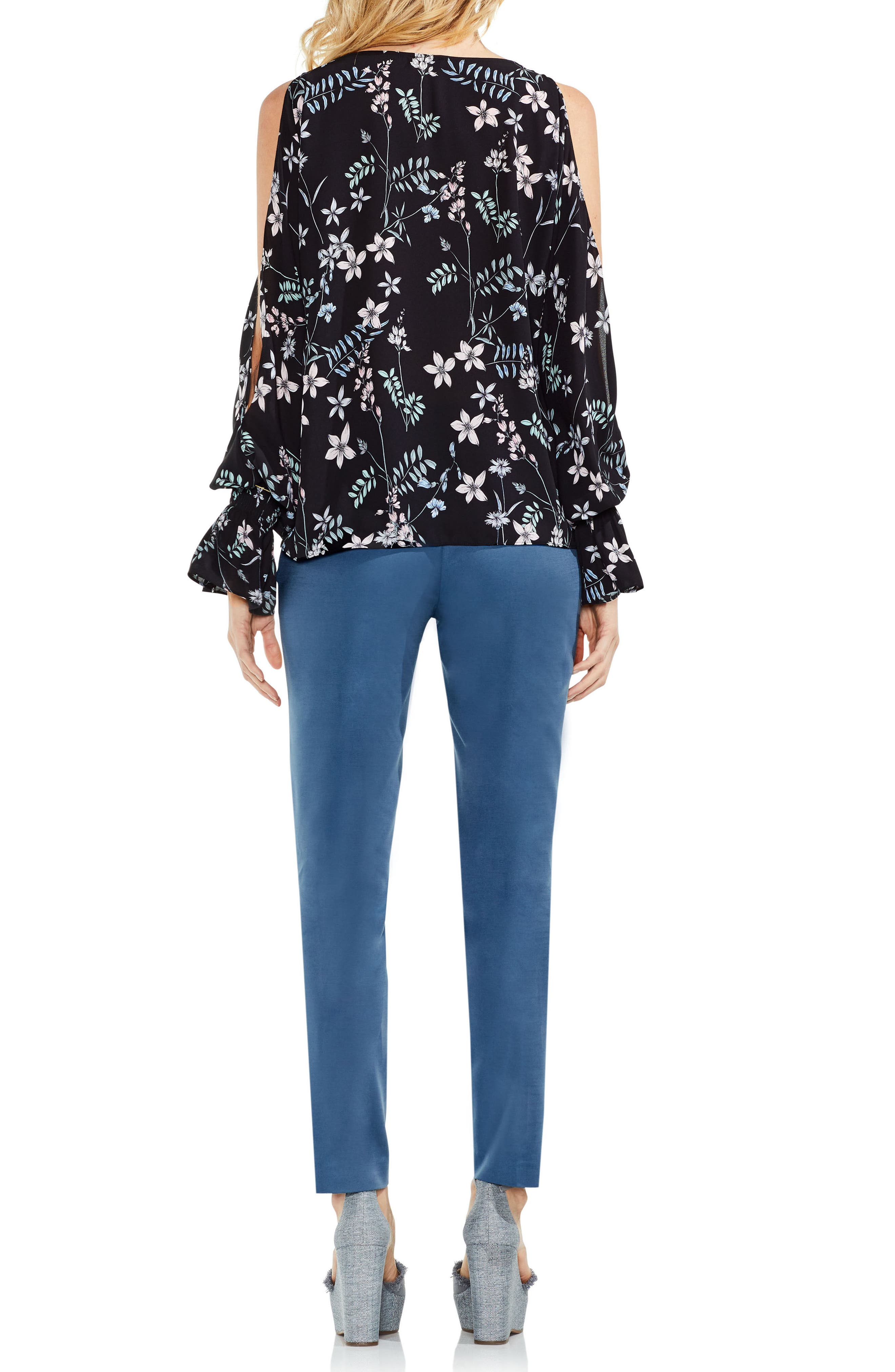 Flare Cuff Cold Shoulder Floral Top,                             Alternate thumbnail 5, color,